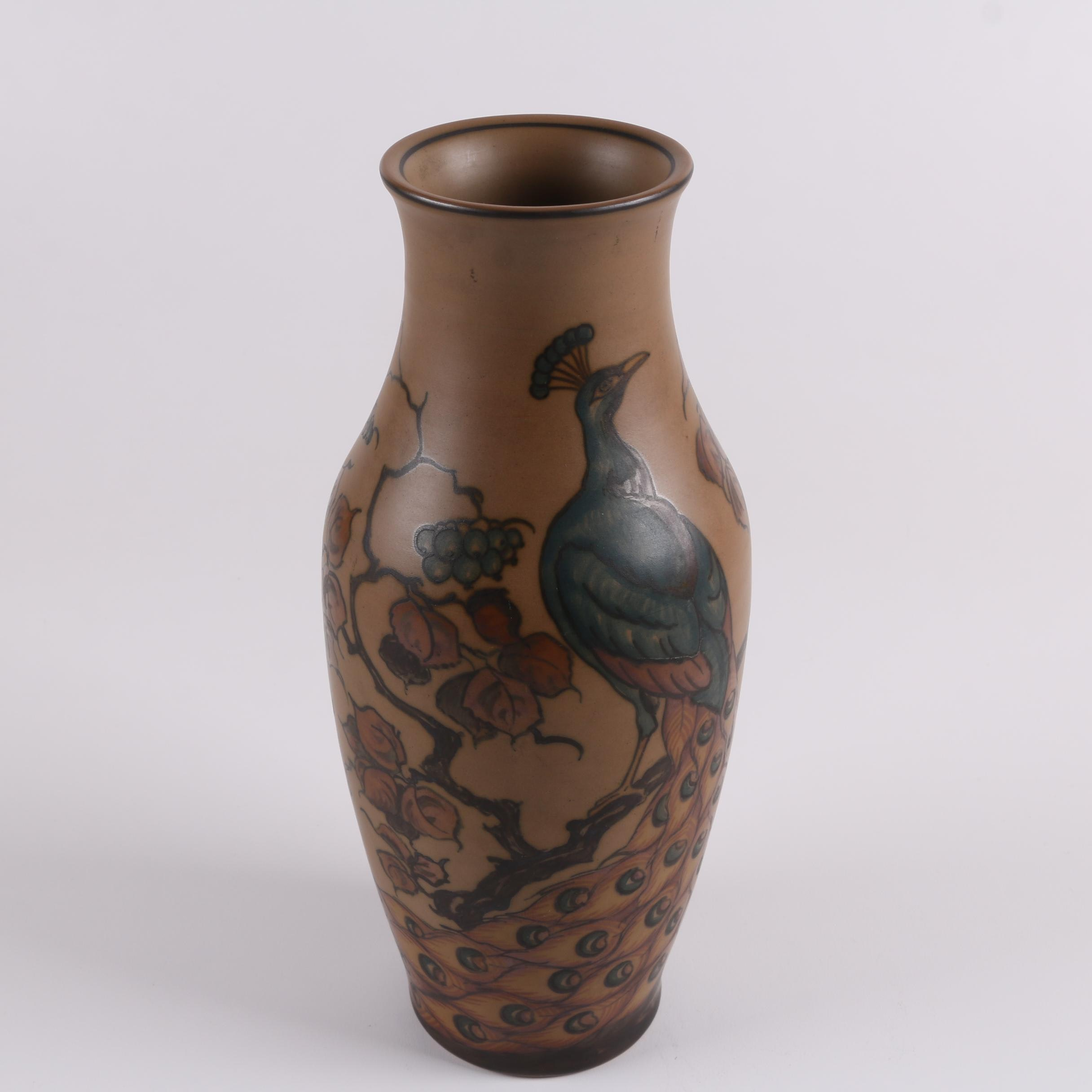 Hjorth Danish Stoneware Vase with Peacock and Foliate Pattern