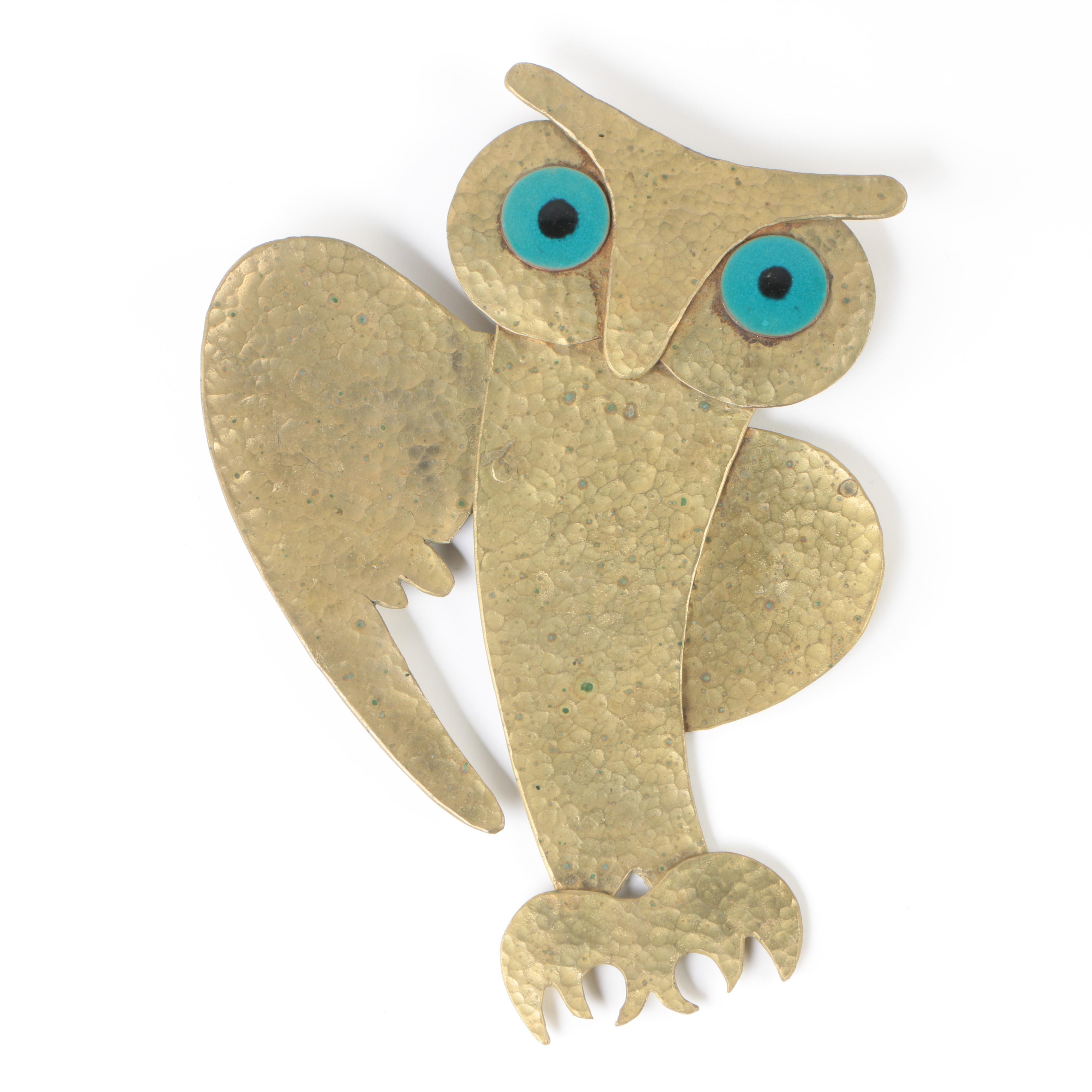 1970s Hammered Brass Owl Wall Sculpture