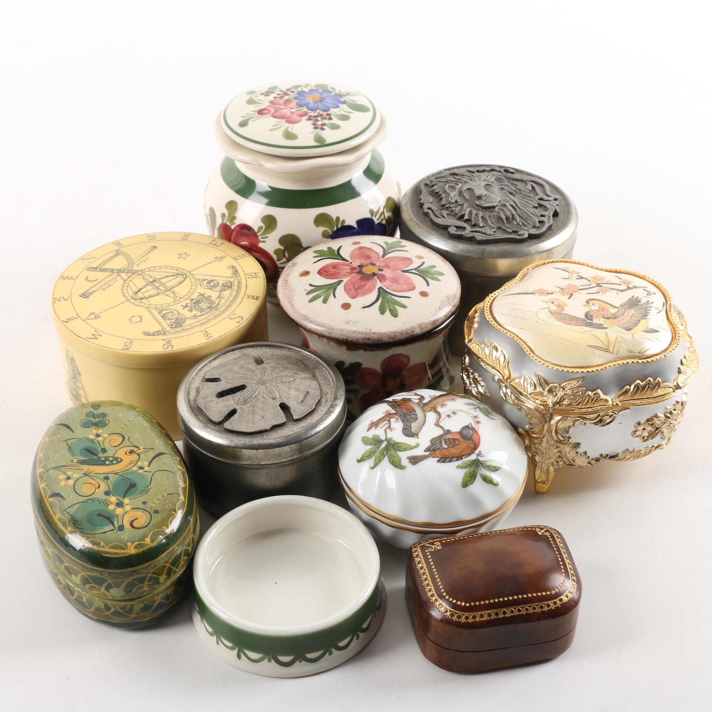 """Trinket Boxes Including Vintage Herend """"Rothschild Bird"""""""