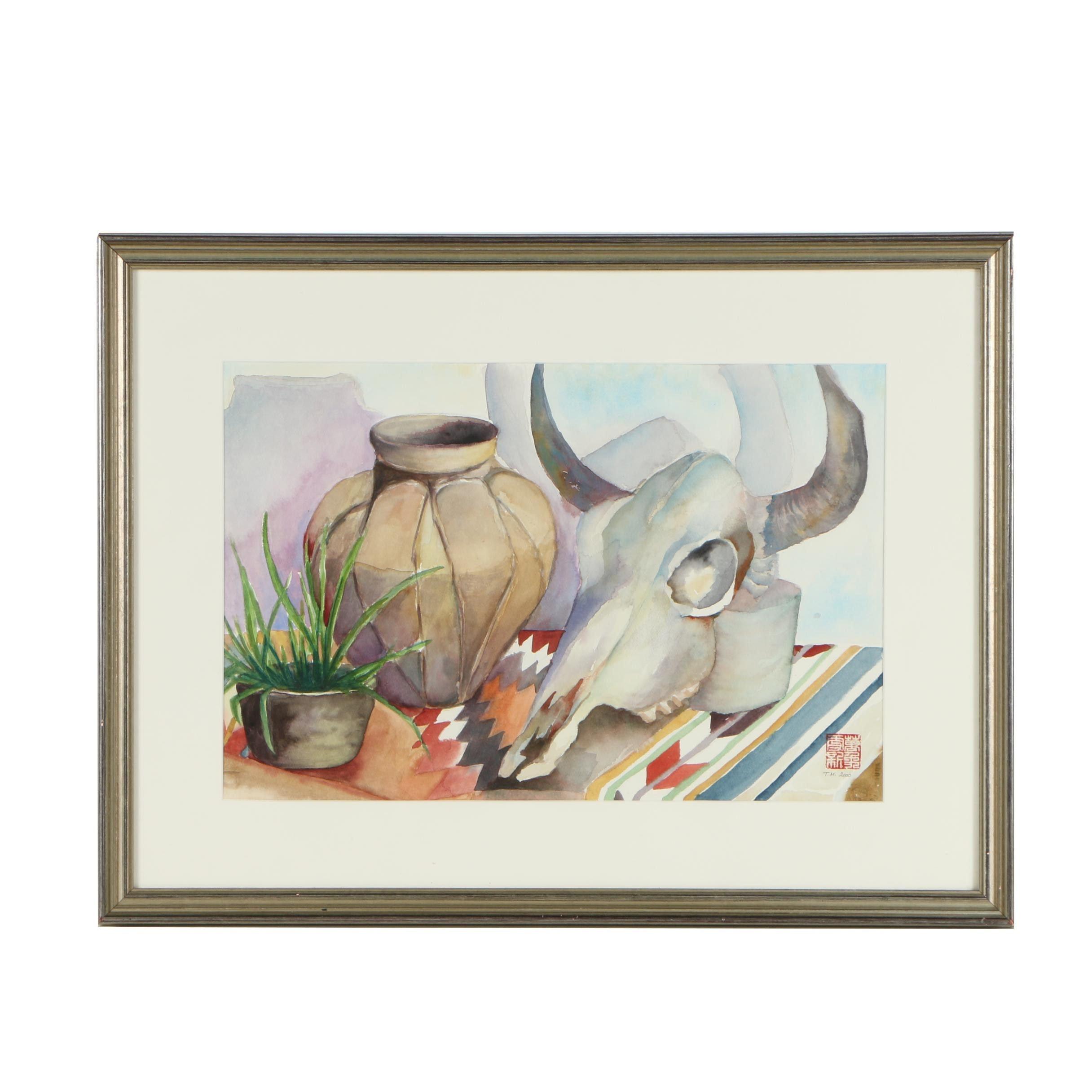 """Tsun Ming Chmielinski Watercolor Painting """"Southwest"""""""