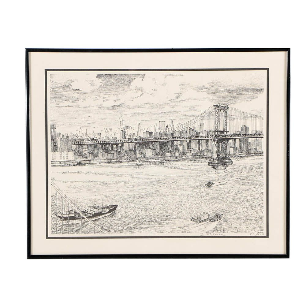 S. Finkenberg Limited Edition Lithograph of New York