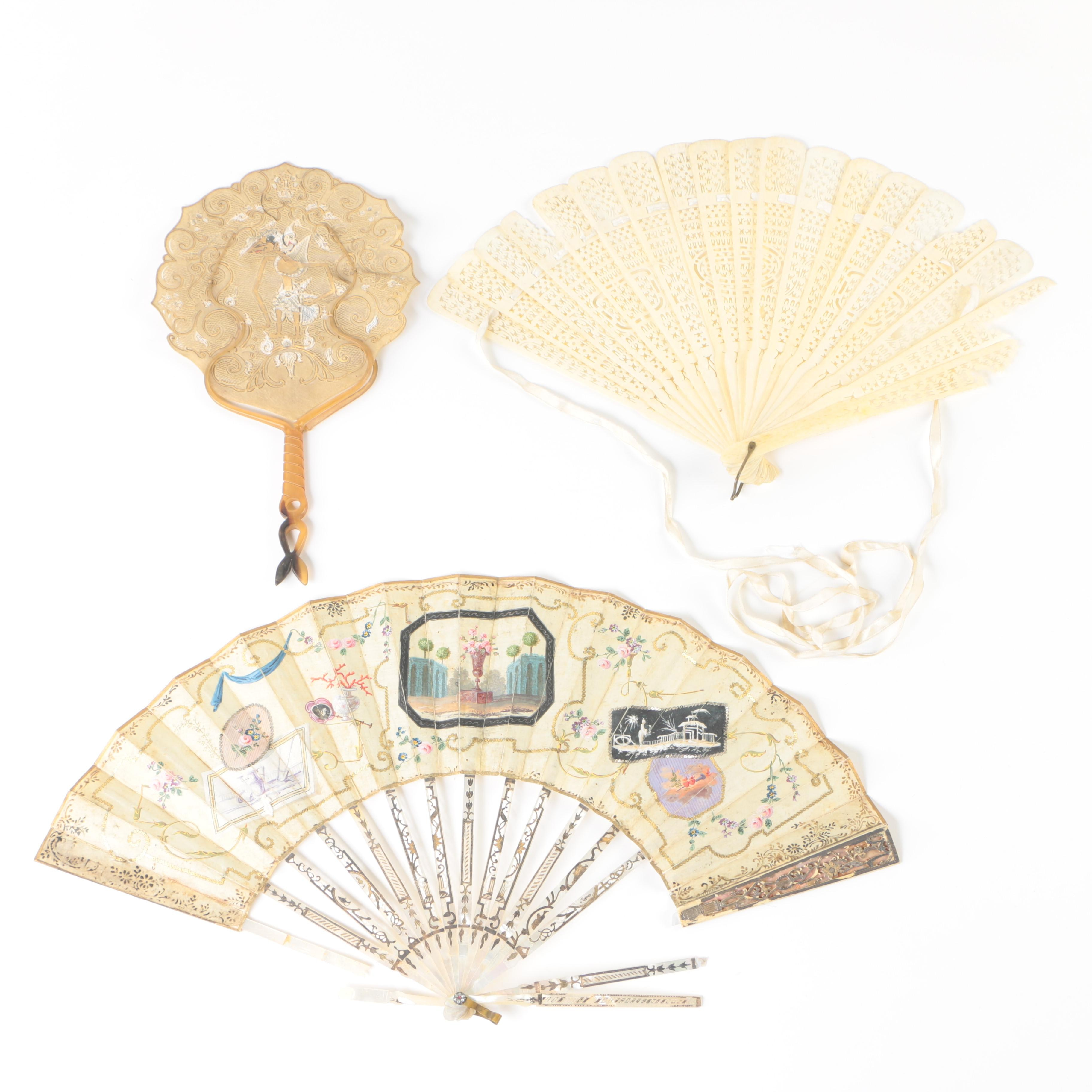Antique Hand-Painted Mother of Pearl and Bone Fans featuring Embellishments