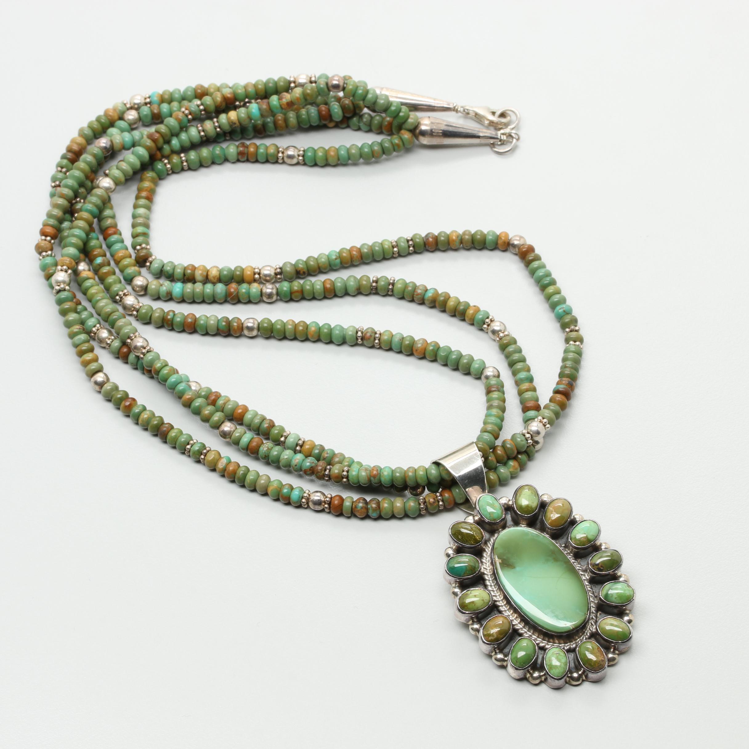 Sharon Hustito Zuni Sterling Silver Turquoise Pendant Necklace