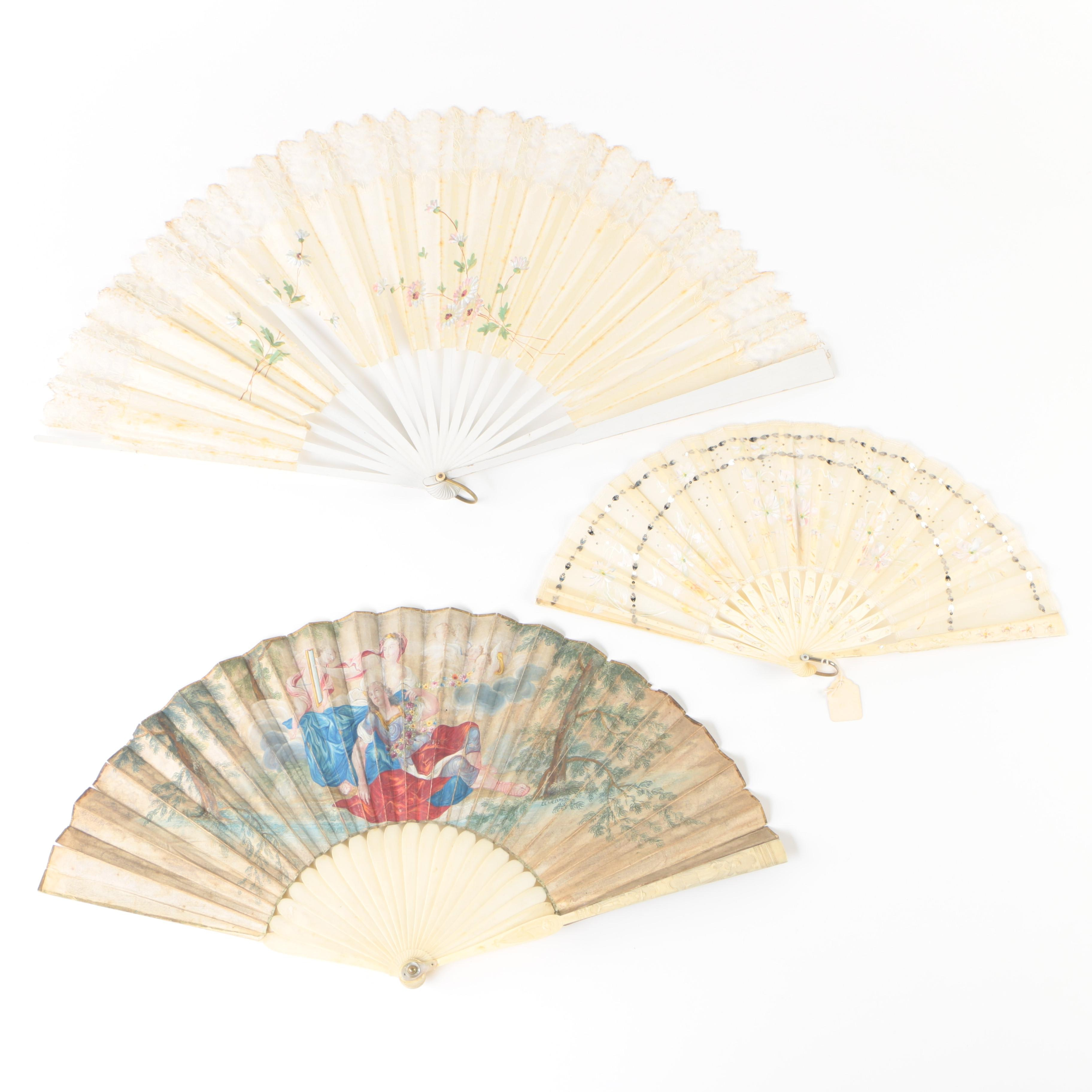 Antique Bone and Wood Fans with Hand-Painted Floral Motif Silk and Lace Leaves