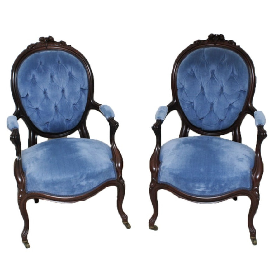 Antique Louis XIV Style Button Tufted Upholstered Chairs ... - Antique Louis XIV Style Button Tufted Upholstered Chairs : EBTH