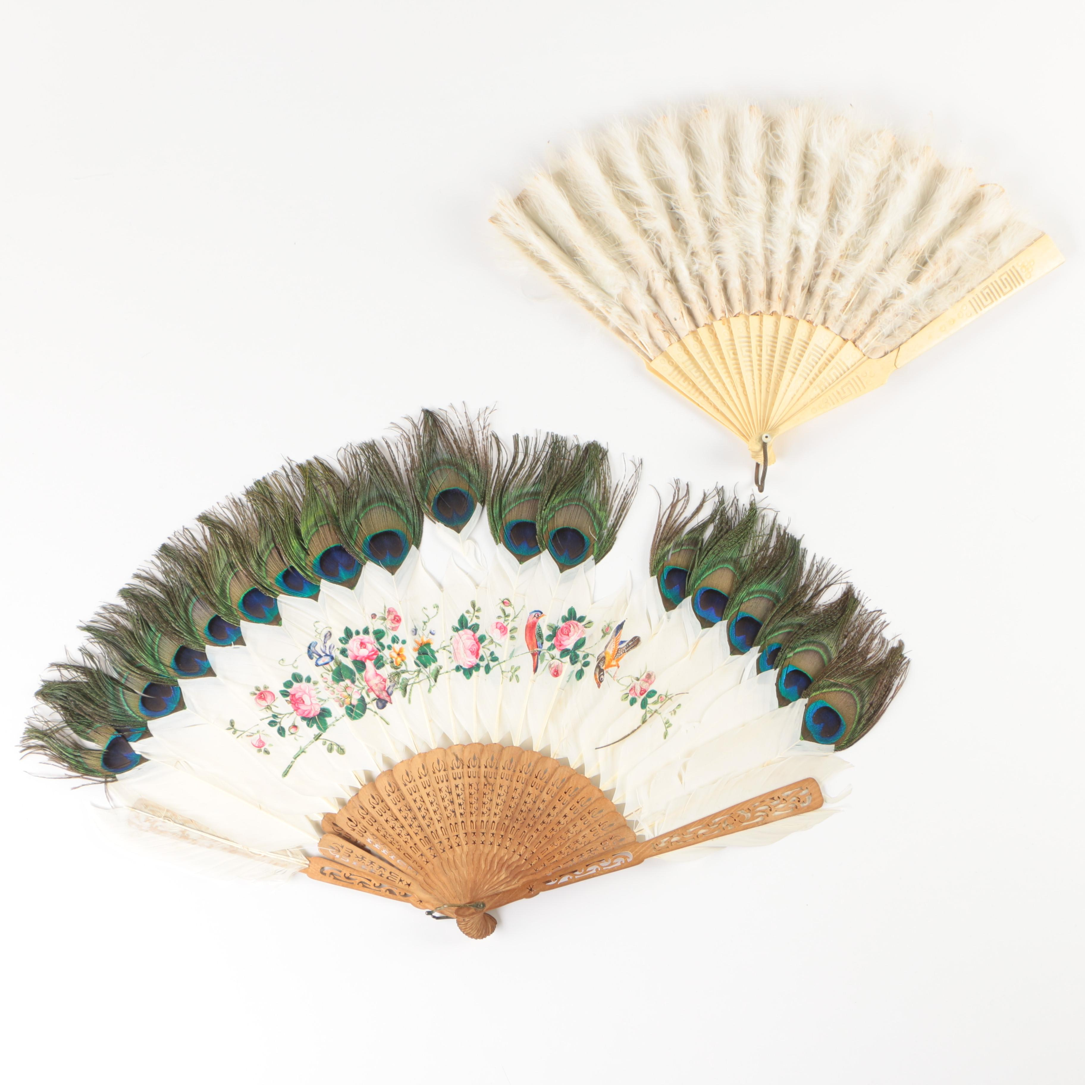 Antique Carved Bone and Wood Folding Fans with Silk and Feather Leafs