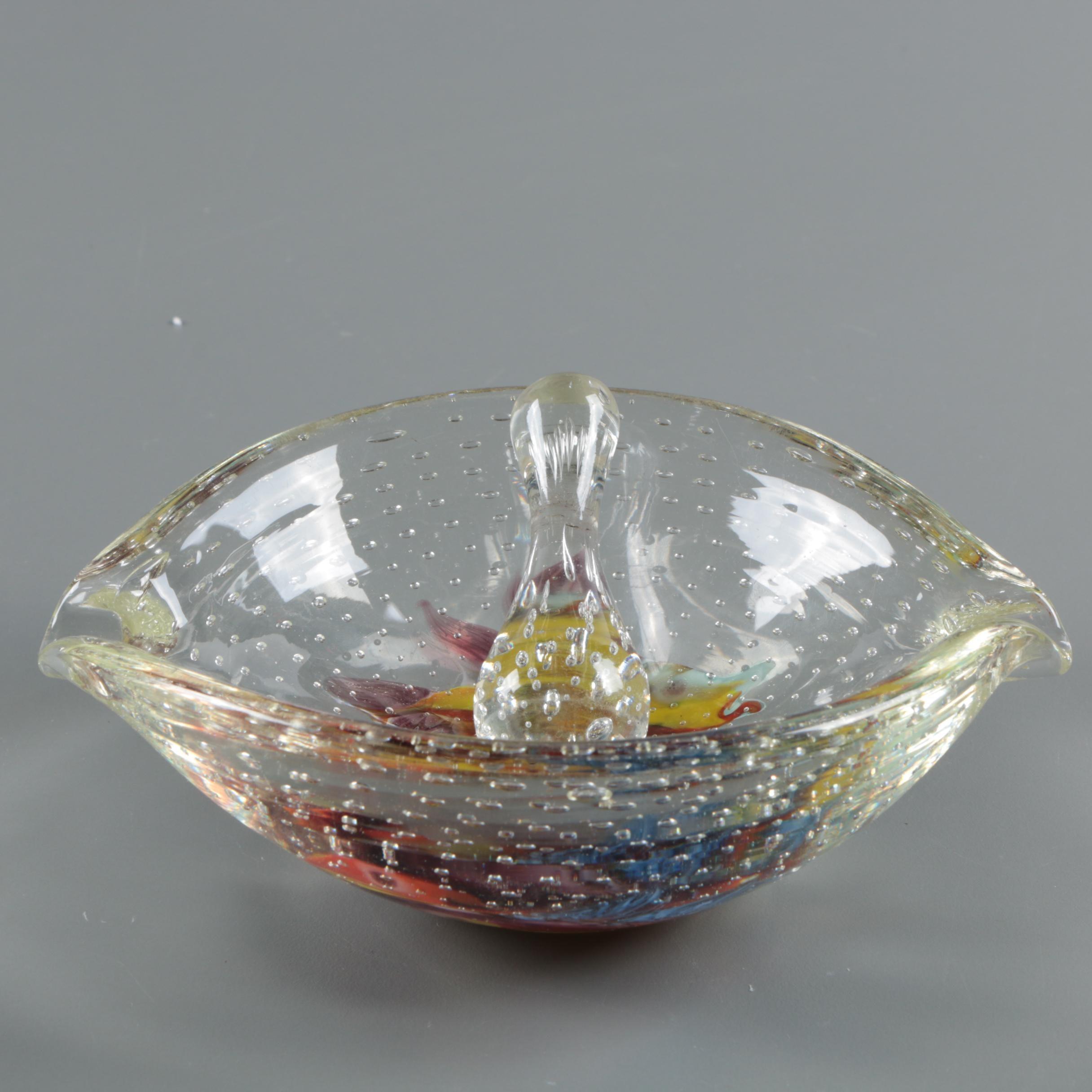 Murano Style Art Glass Mortar and Pestle