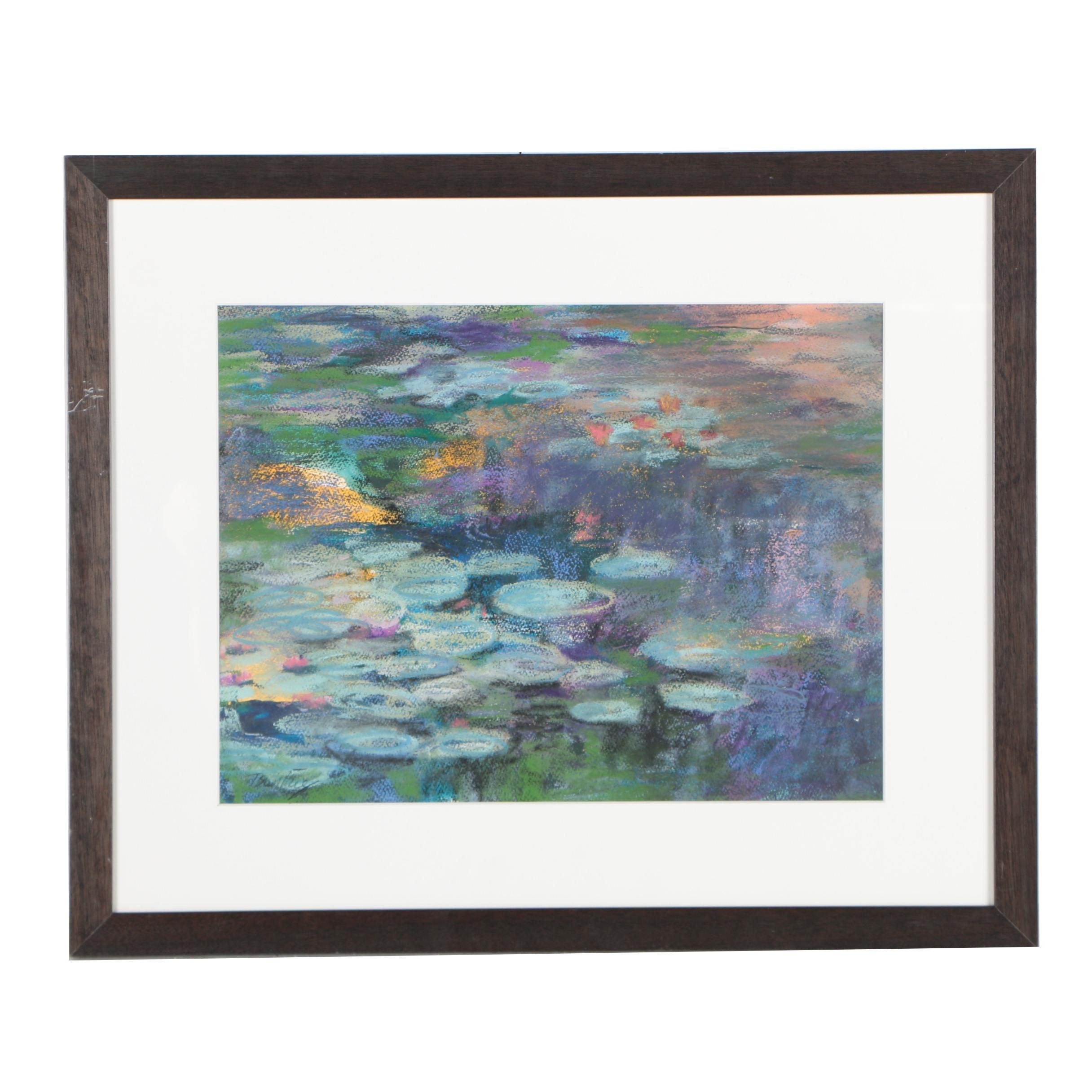 """Tsun Ming Chmielinski Pastel Drawing """"Lily Pond"""""""