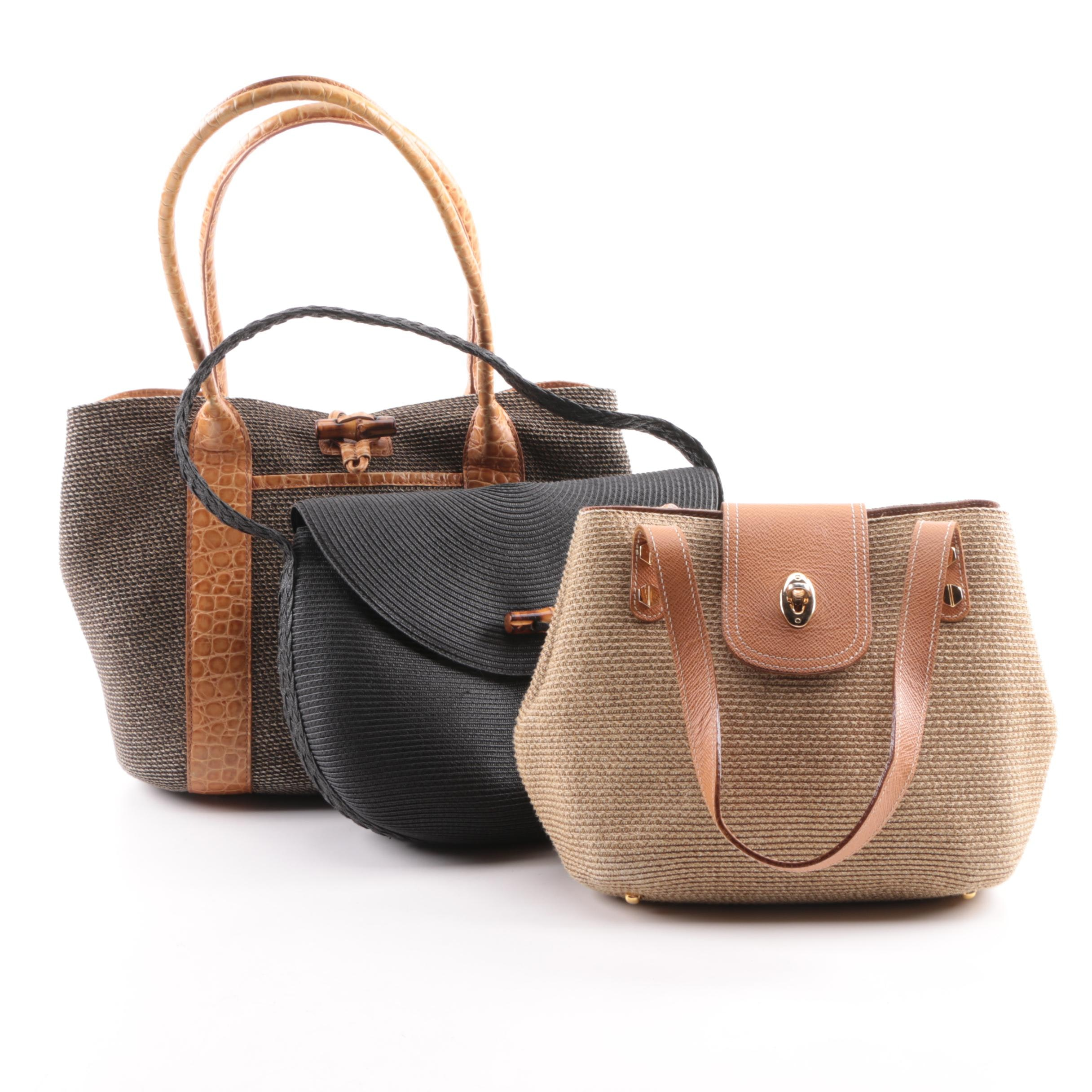 Eric Javits Woven Straw and Leather Handbags