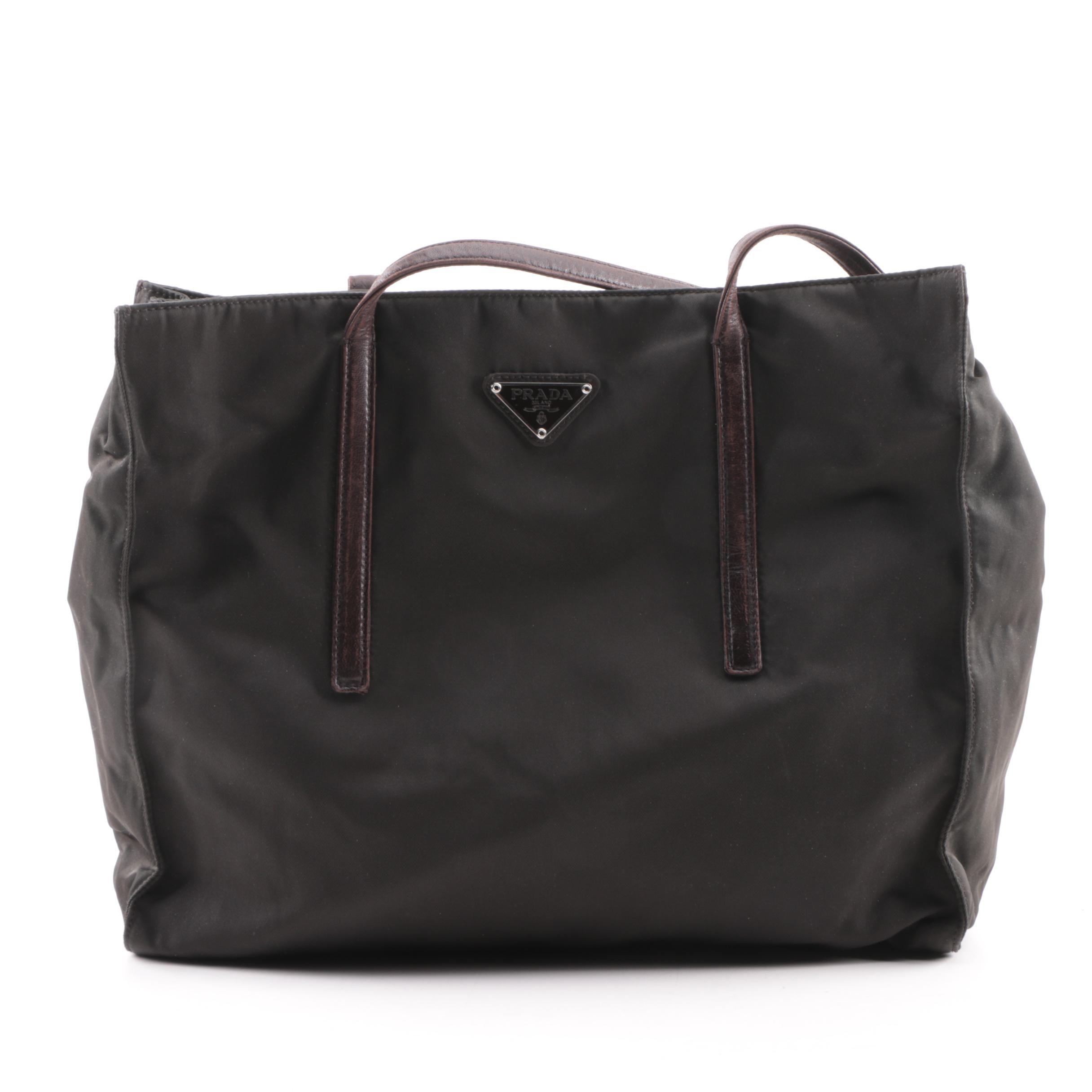 Prada Black Nylon Tote with Brown Leather Straps
