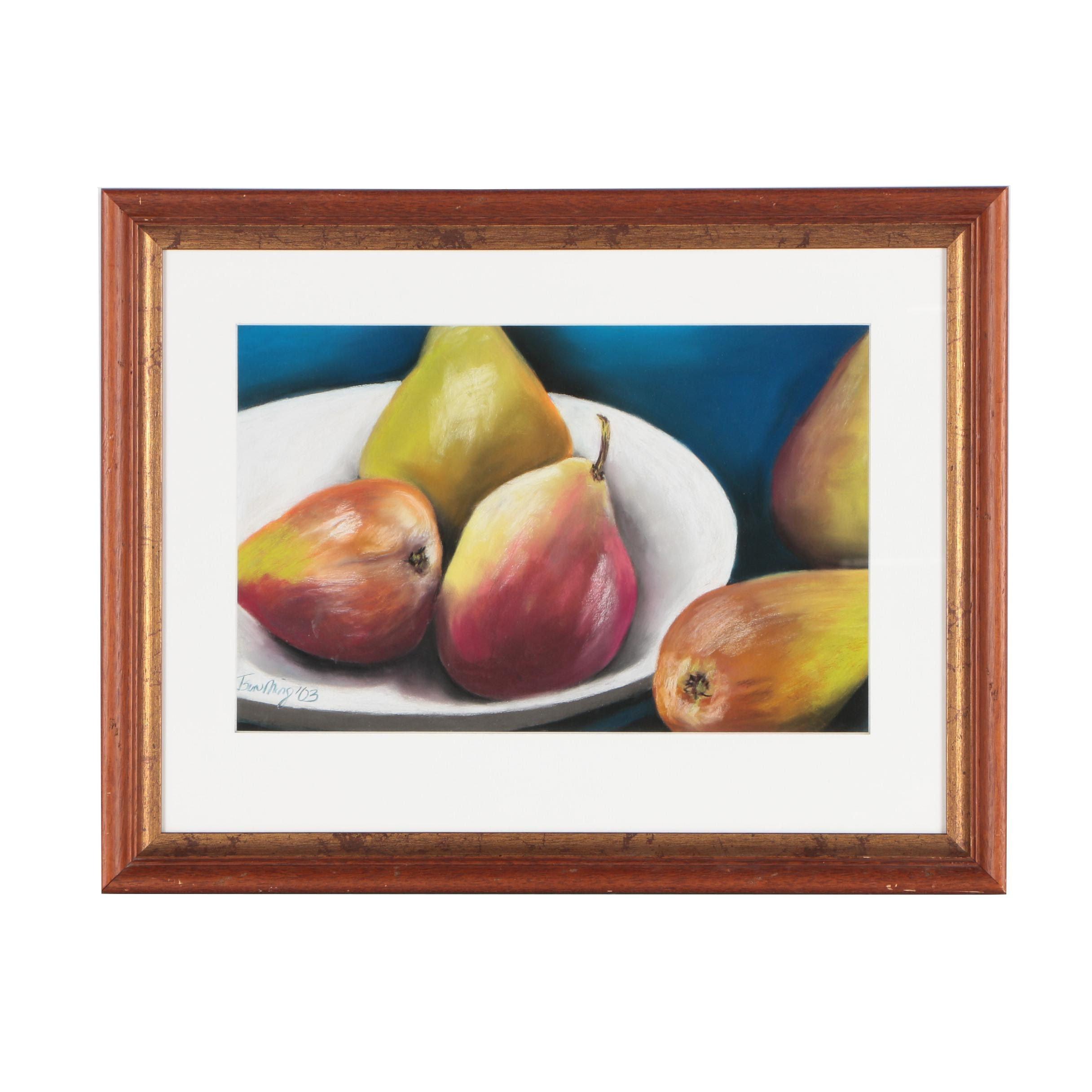 """Tsun Ming Chmielinski Pastel Drawing """"Pears"""""""