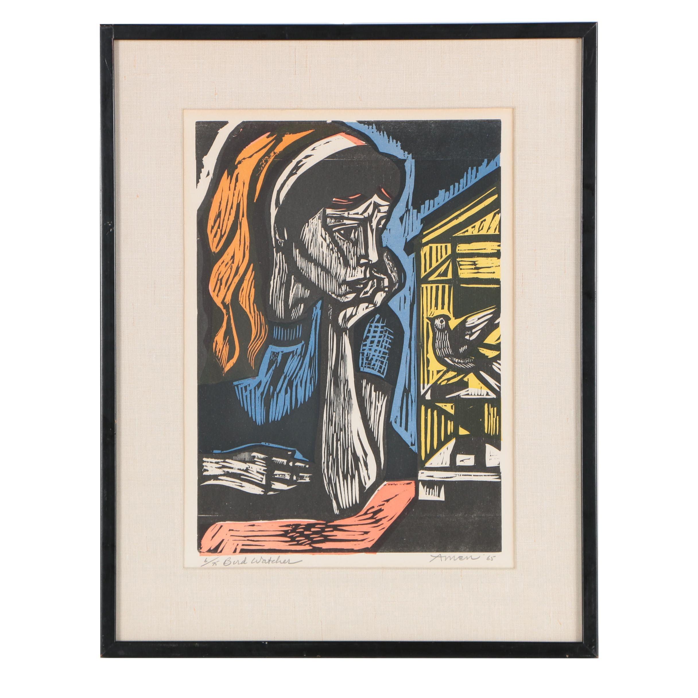 """Irving Amen 1965 Woodcut Print """"Bird Watcher"""""""