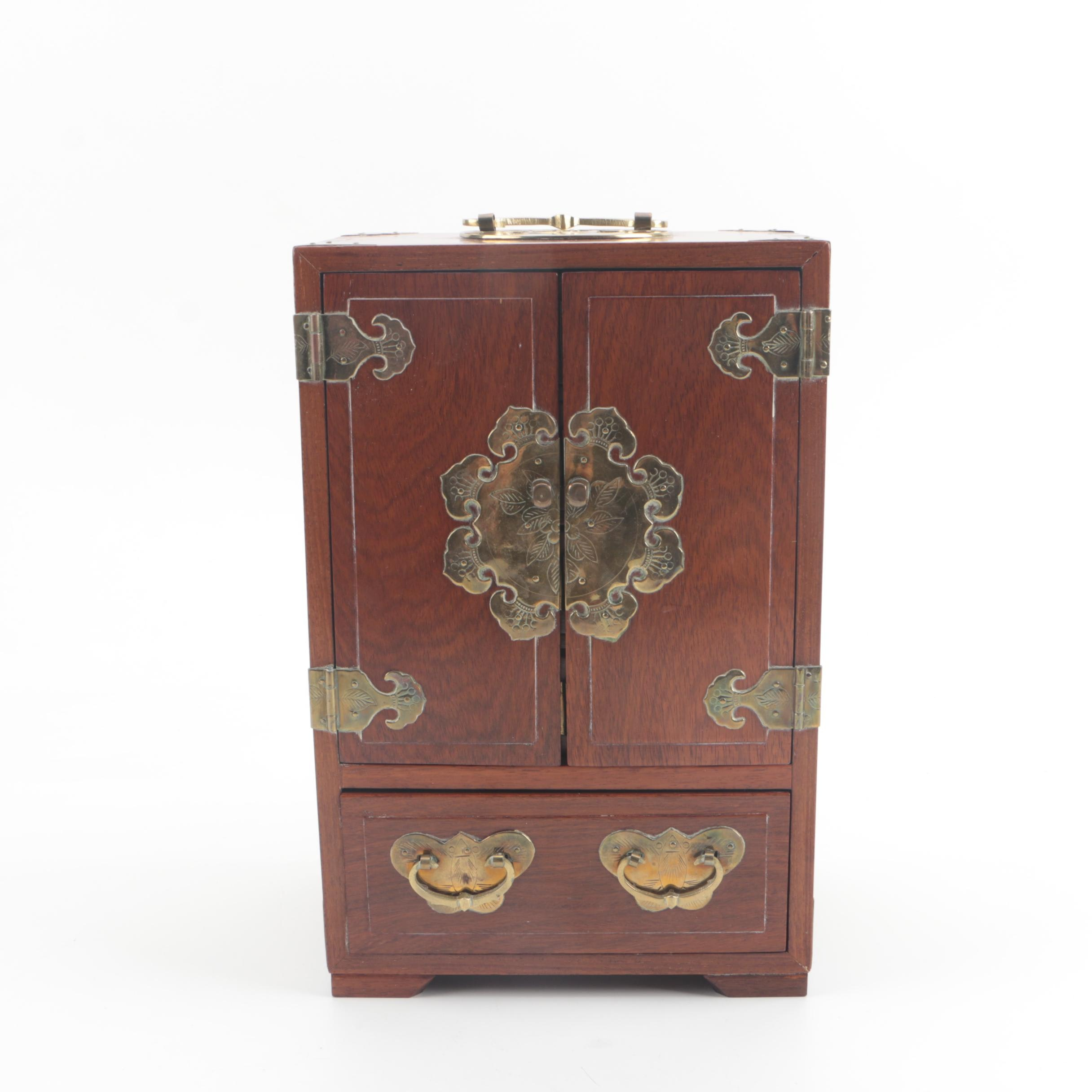 George Zee & Co. Chinese Teak Stained Jewelry Chest