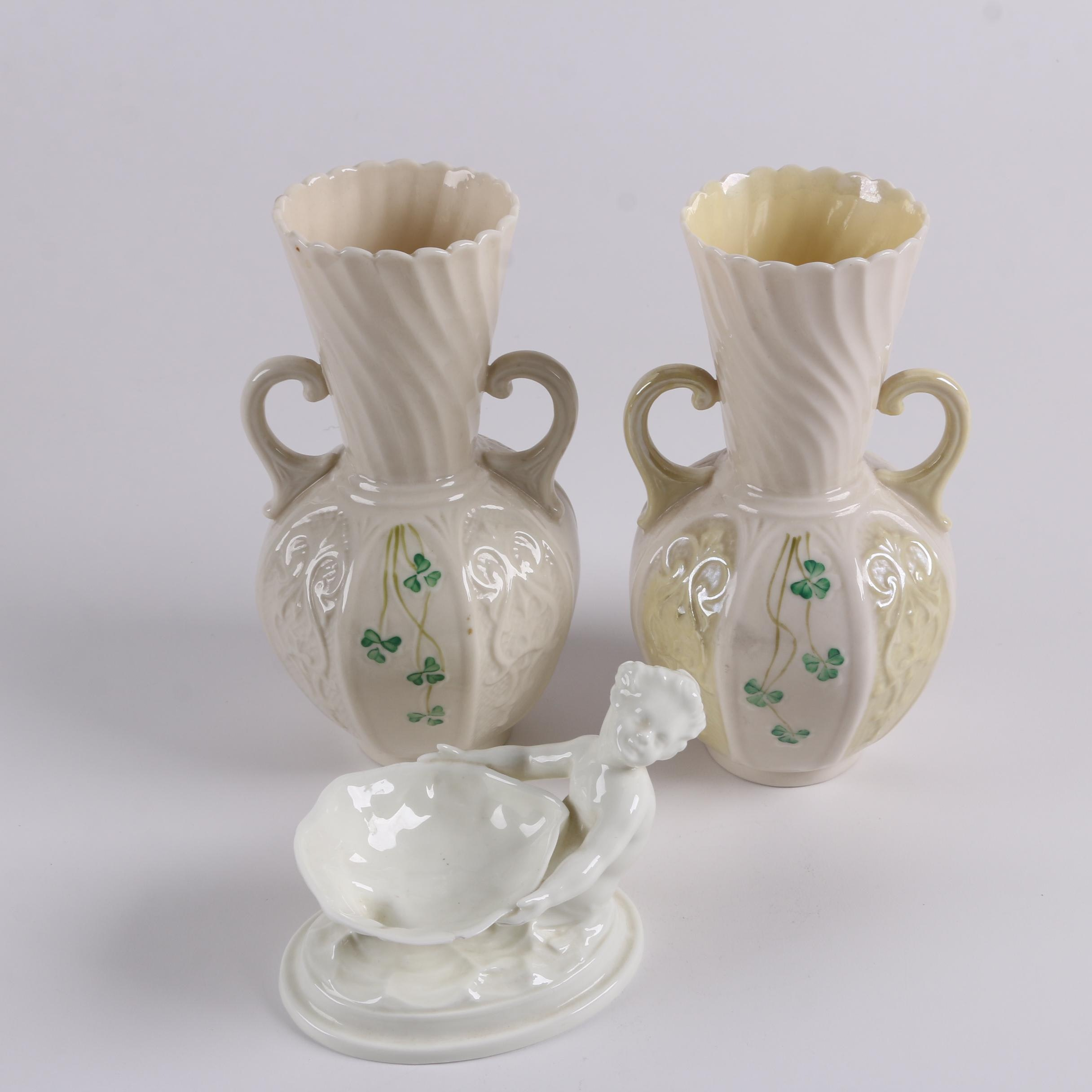 "Belleek Porcelain ""Shamrock"" Vases and Royal Worcester Mermaid Trinket Dish"