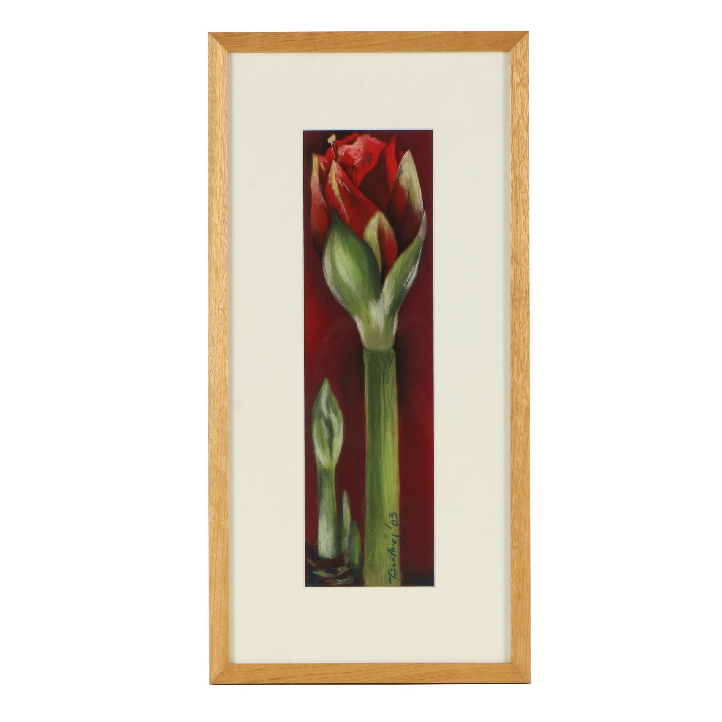 "2003 Tsun Ming Chmielinski Pastel Drawing 'Amaryllis"""