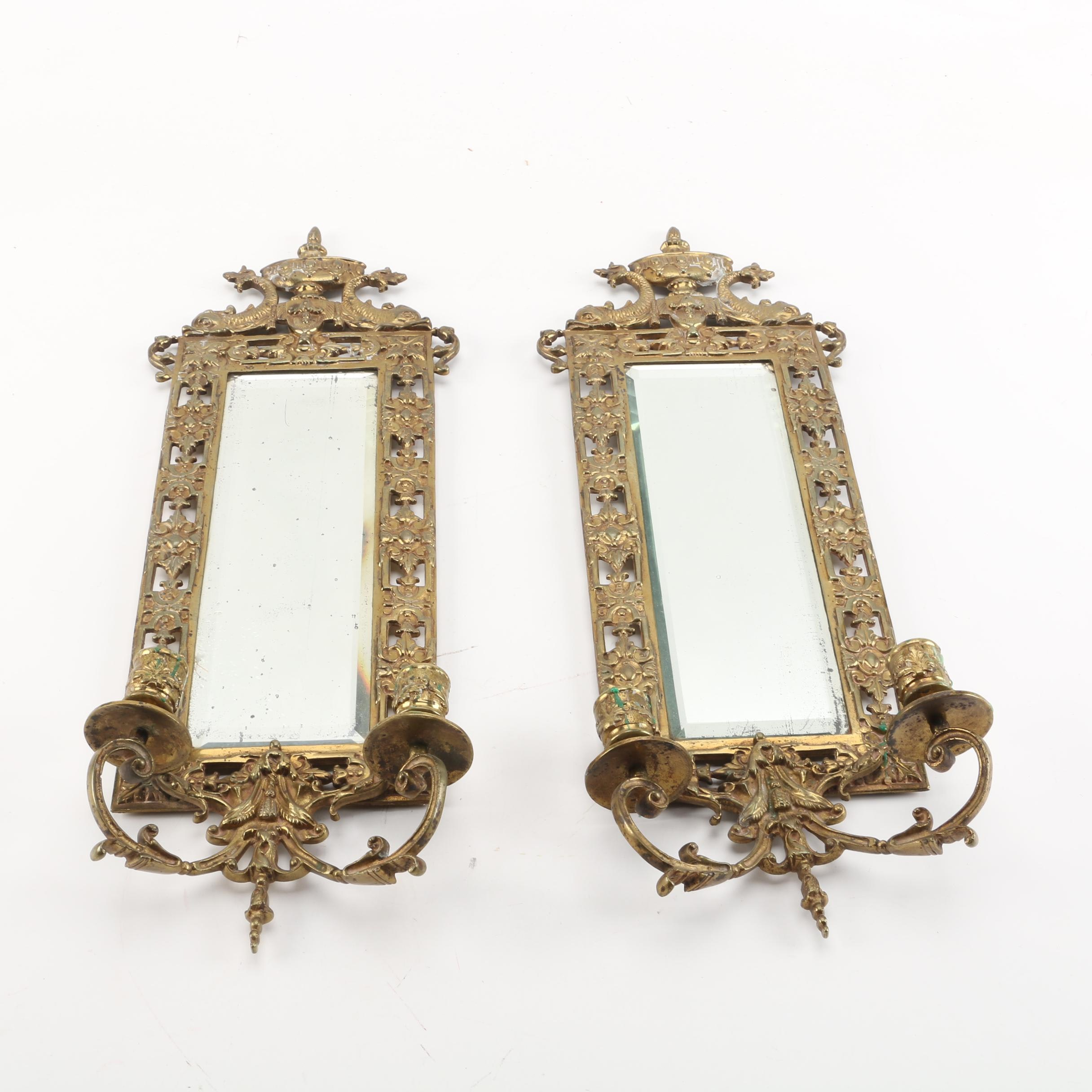 Neoclassical Style Brass Mirror Sconces