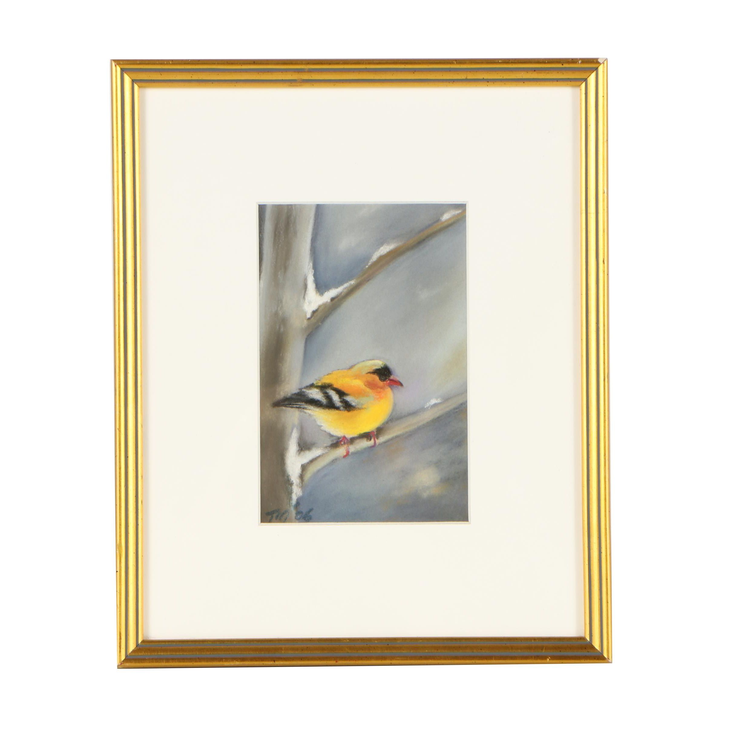 """2006 Tsun Ming Chmielinski Pastel Drawing """"Bird"""""""