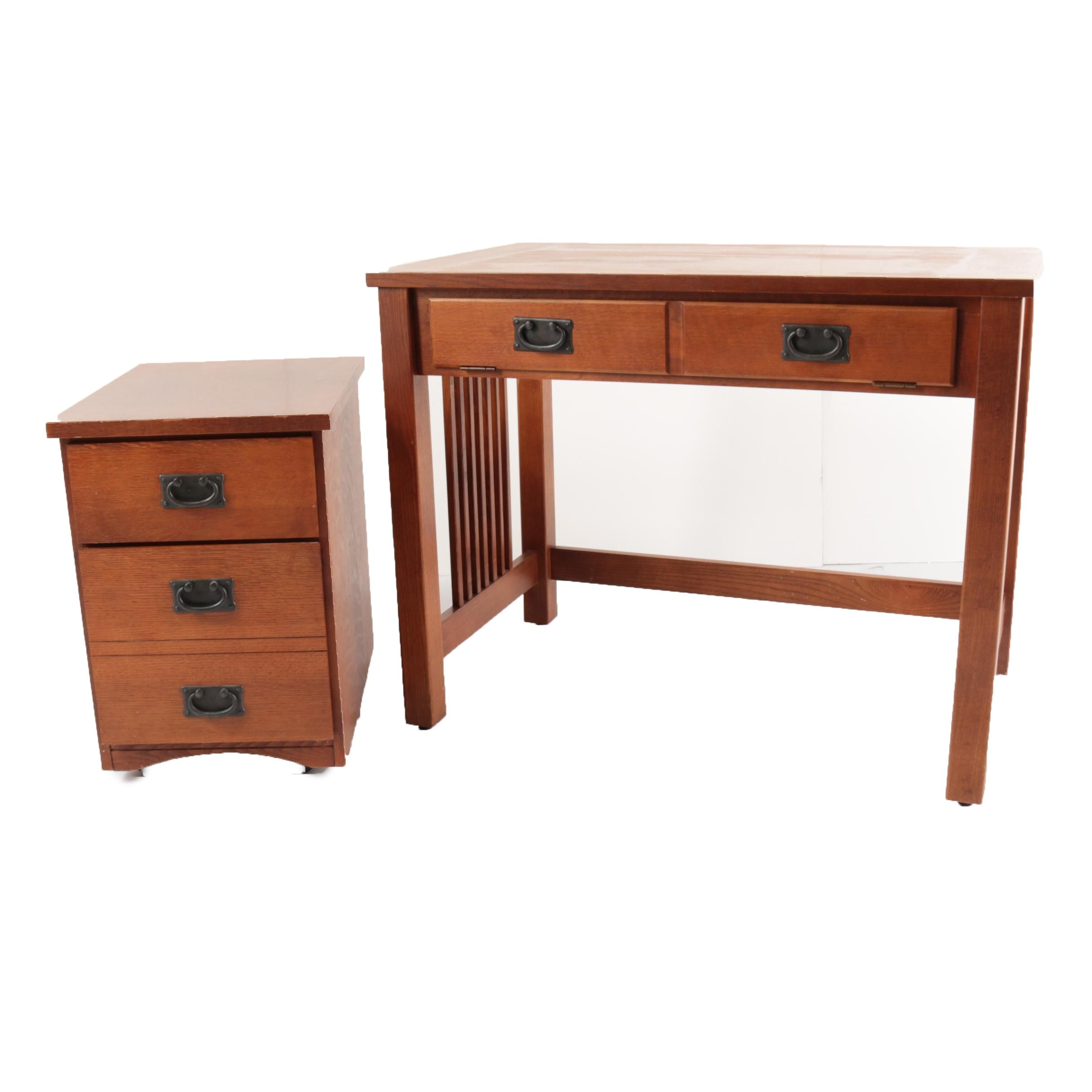 Contemporary Arts and Crafts Style Desk with Two-Drawer File Cabinet