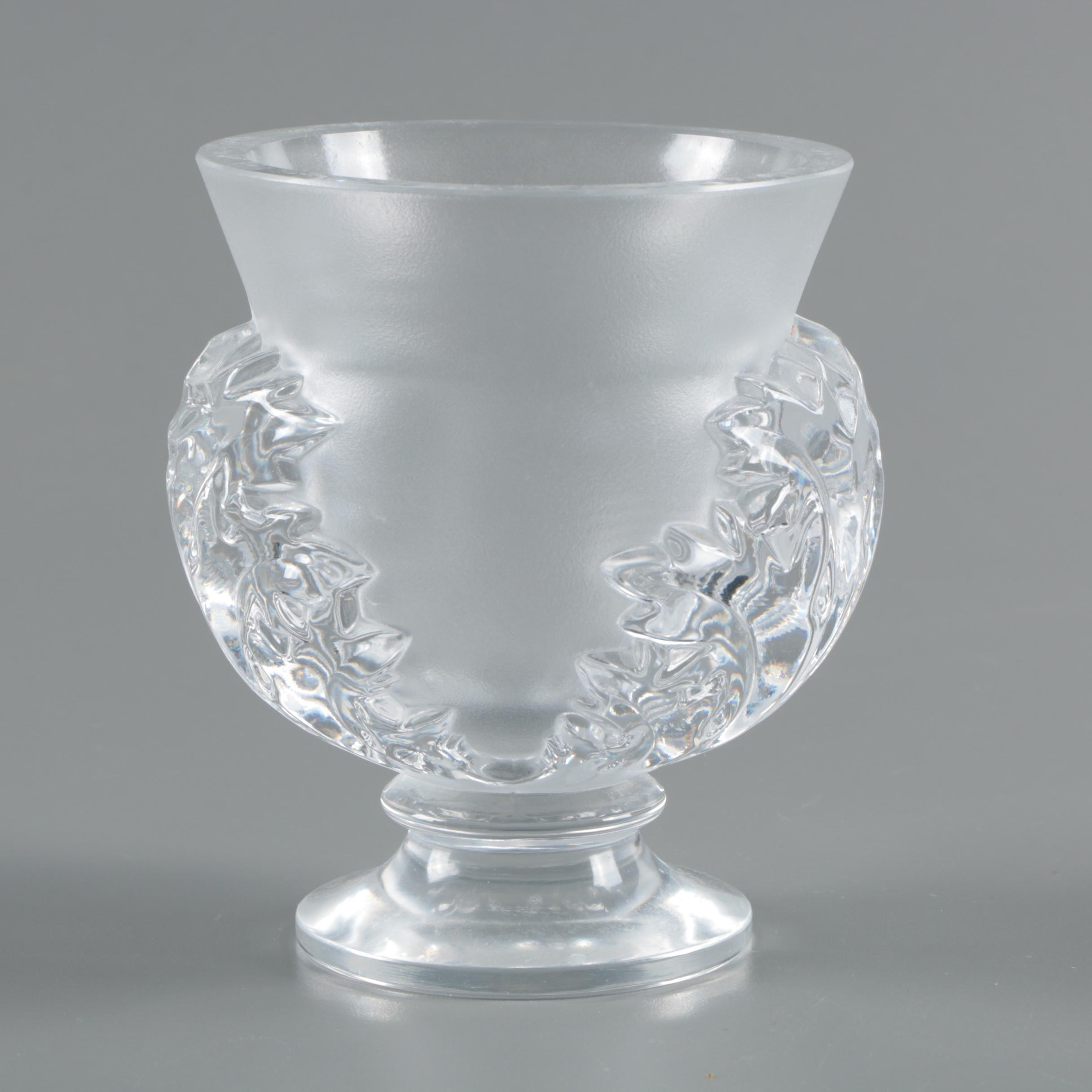 "Lalique ""St. Cloud"" Frosted and Clear Crystal Footed Vase"