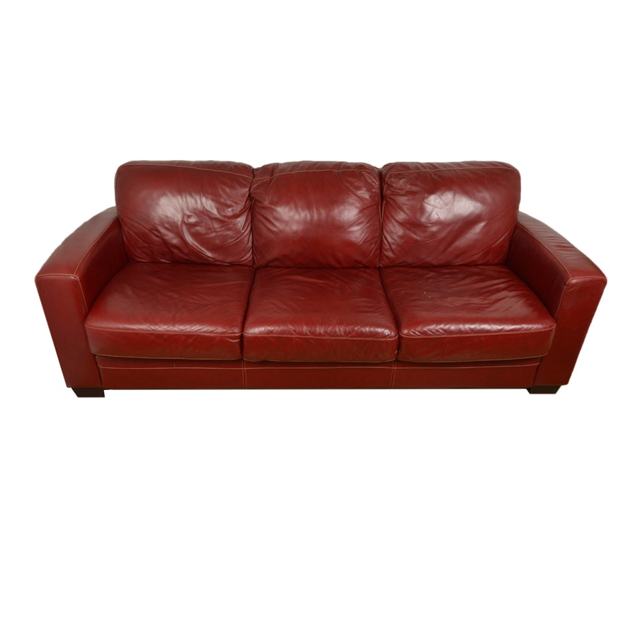 Red Faux Leather Sofa : EBTH