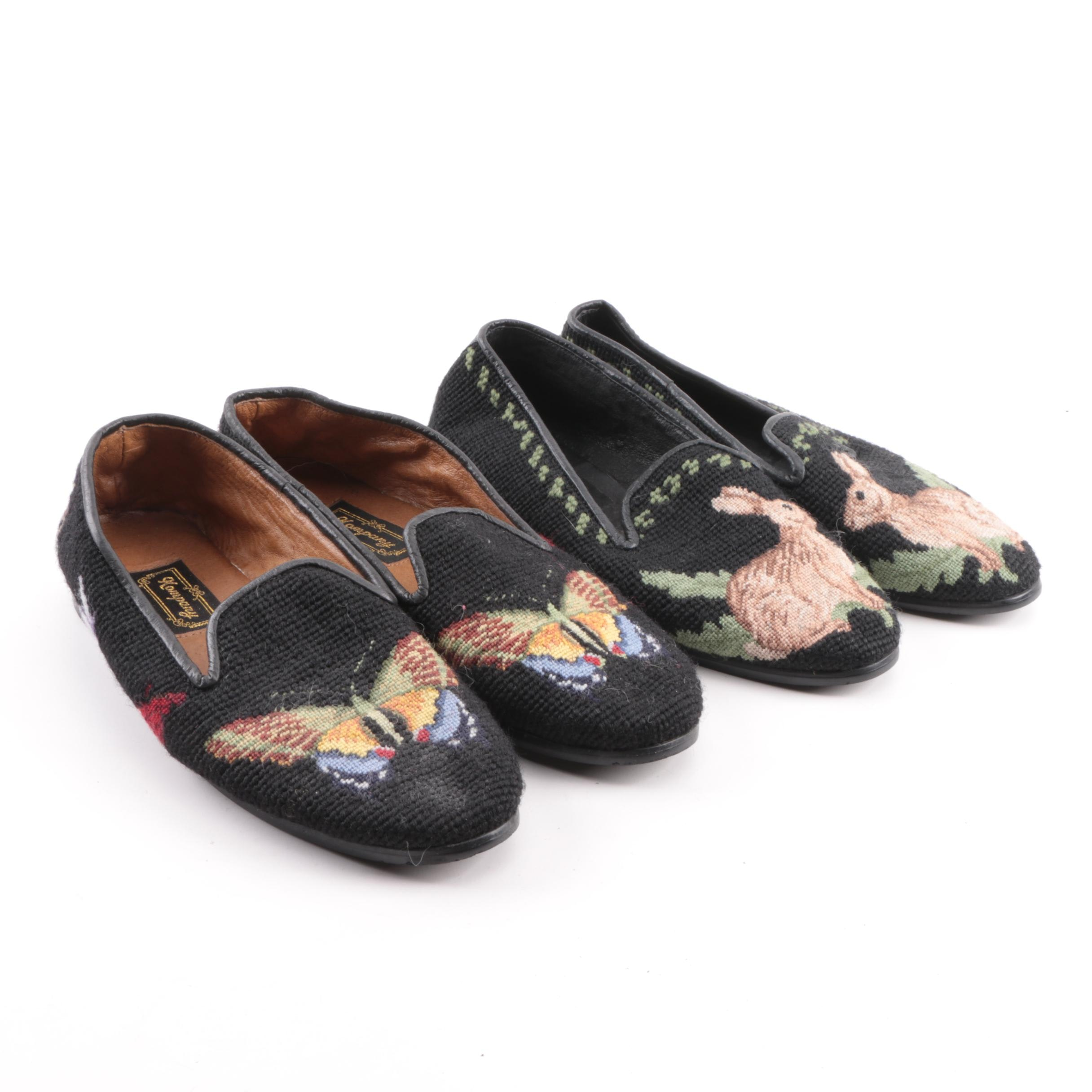 Women's Kompany and The Larkspur Collection Needlepoint Loafers