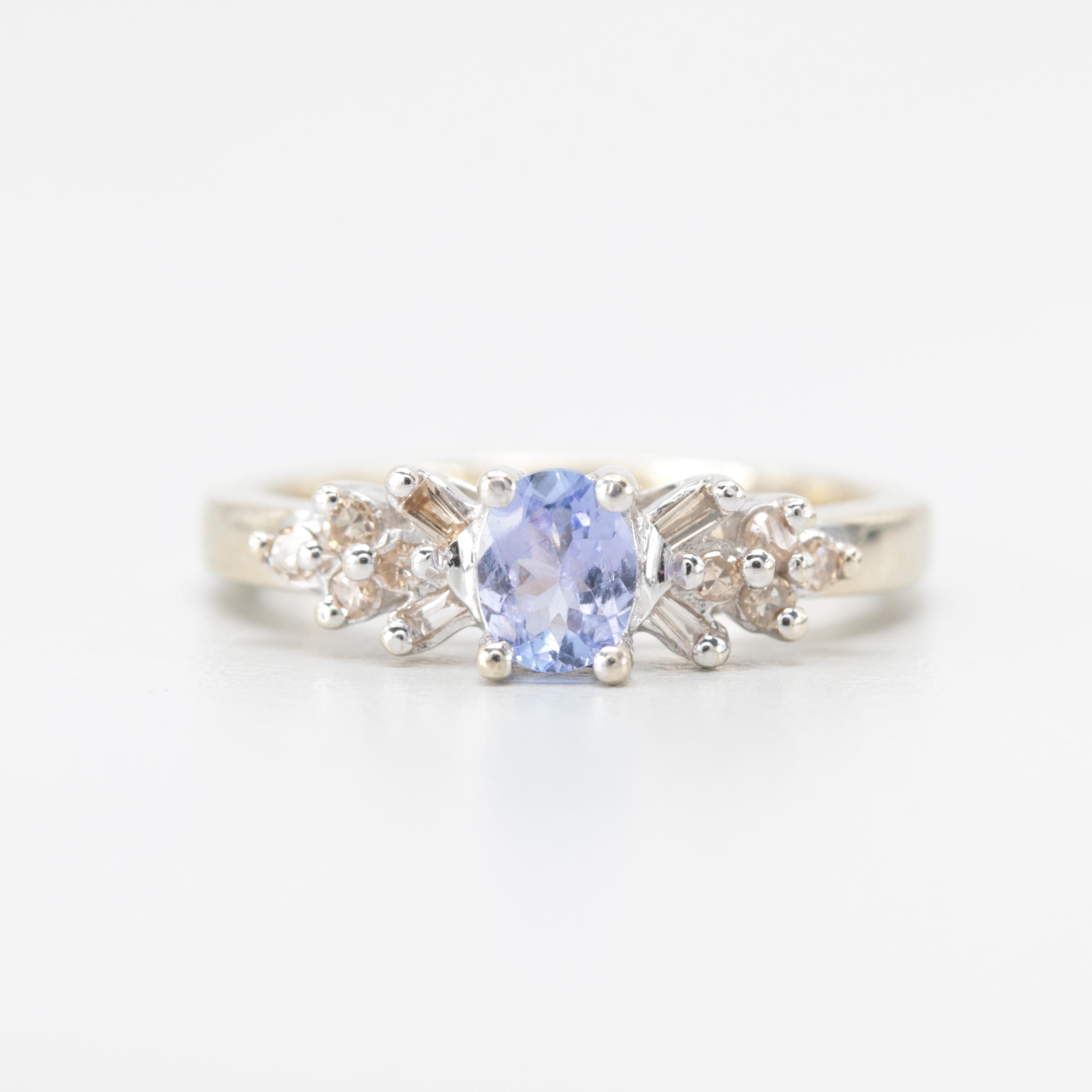 10K White Gold Tanzanite and Diamond Ring