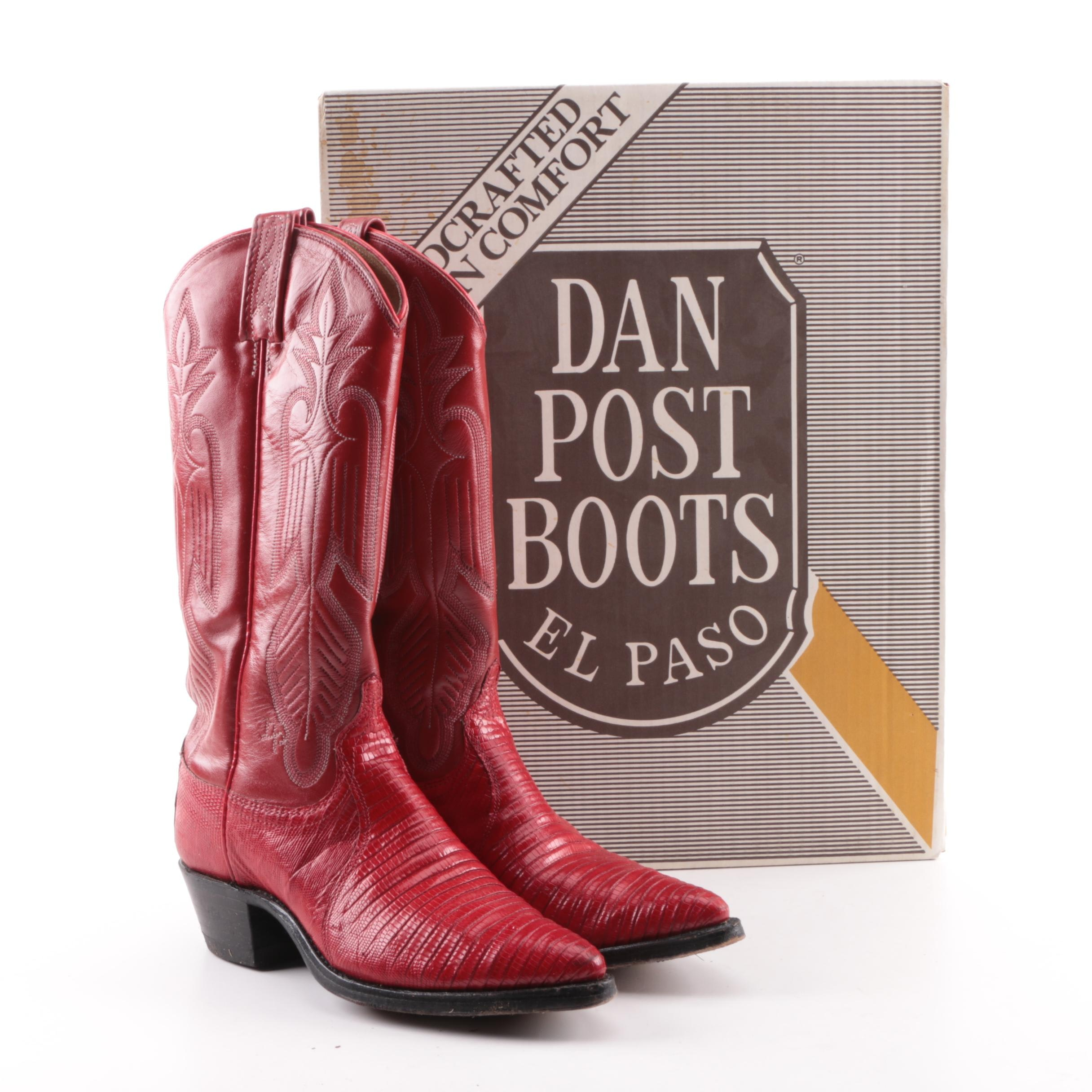 Women's Vintage Dan Post Red Leather and Lizard Skin Western Boots