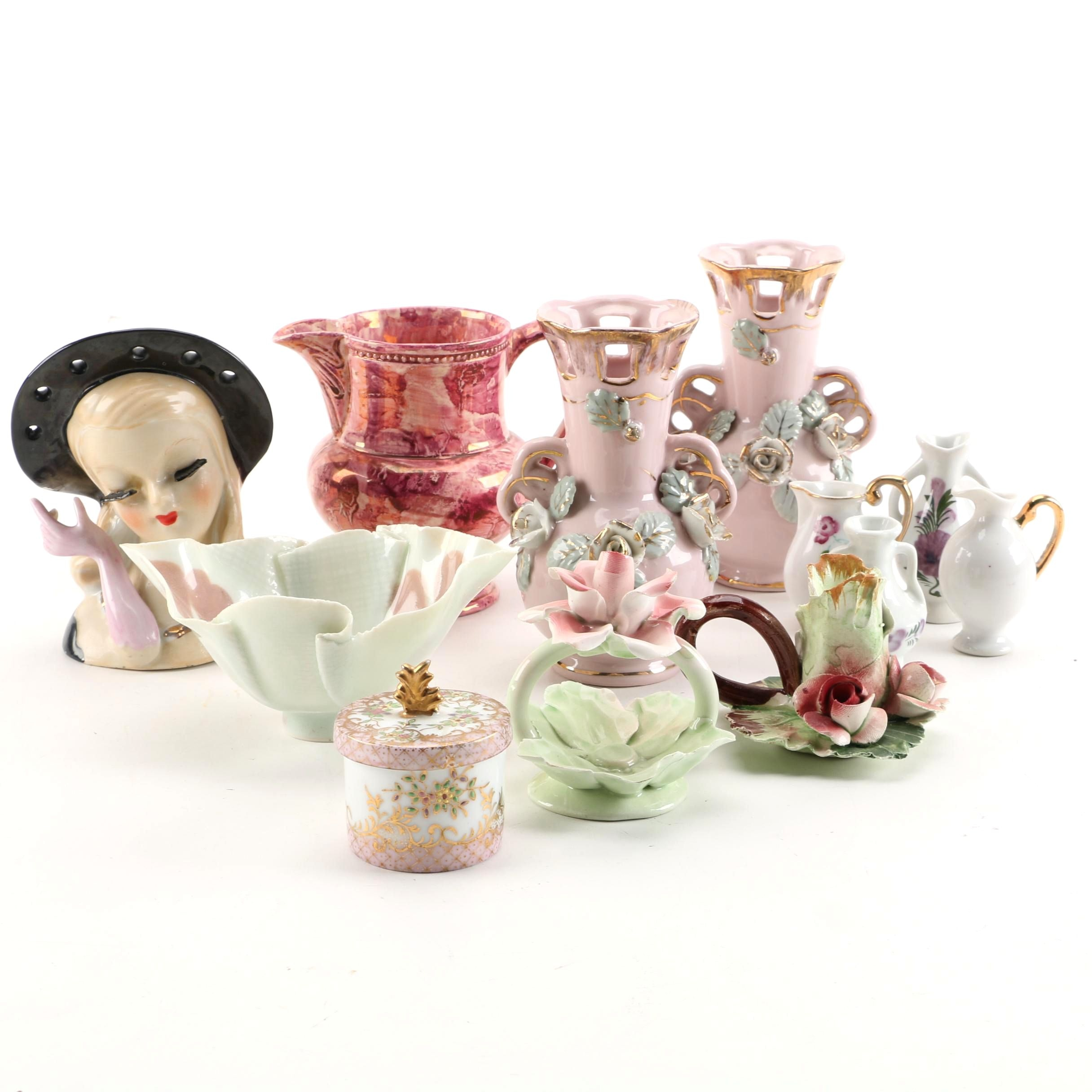 Palin Thorley Williamsburg Lustreware Creamer, Lady Head Vase, and Other Decor