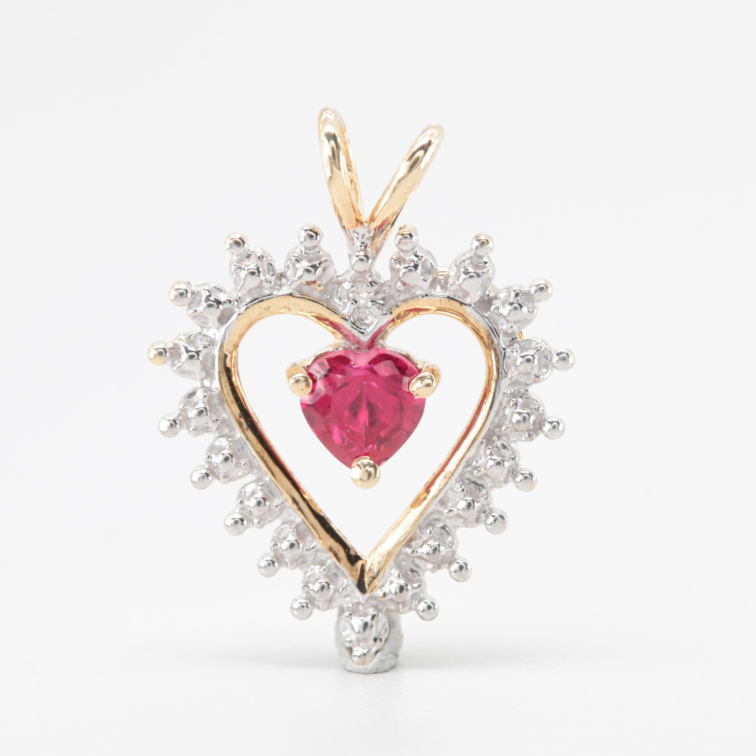10K Yellow and White Gold Synthetic Ruby and Diamond Heart Pendant