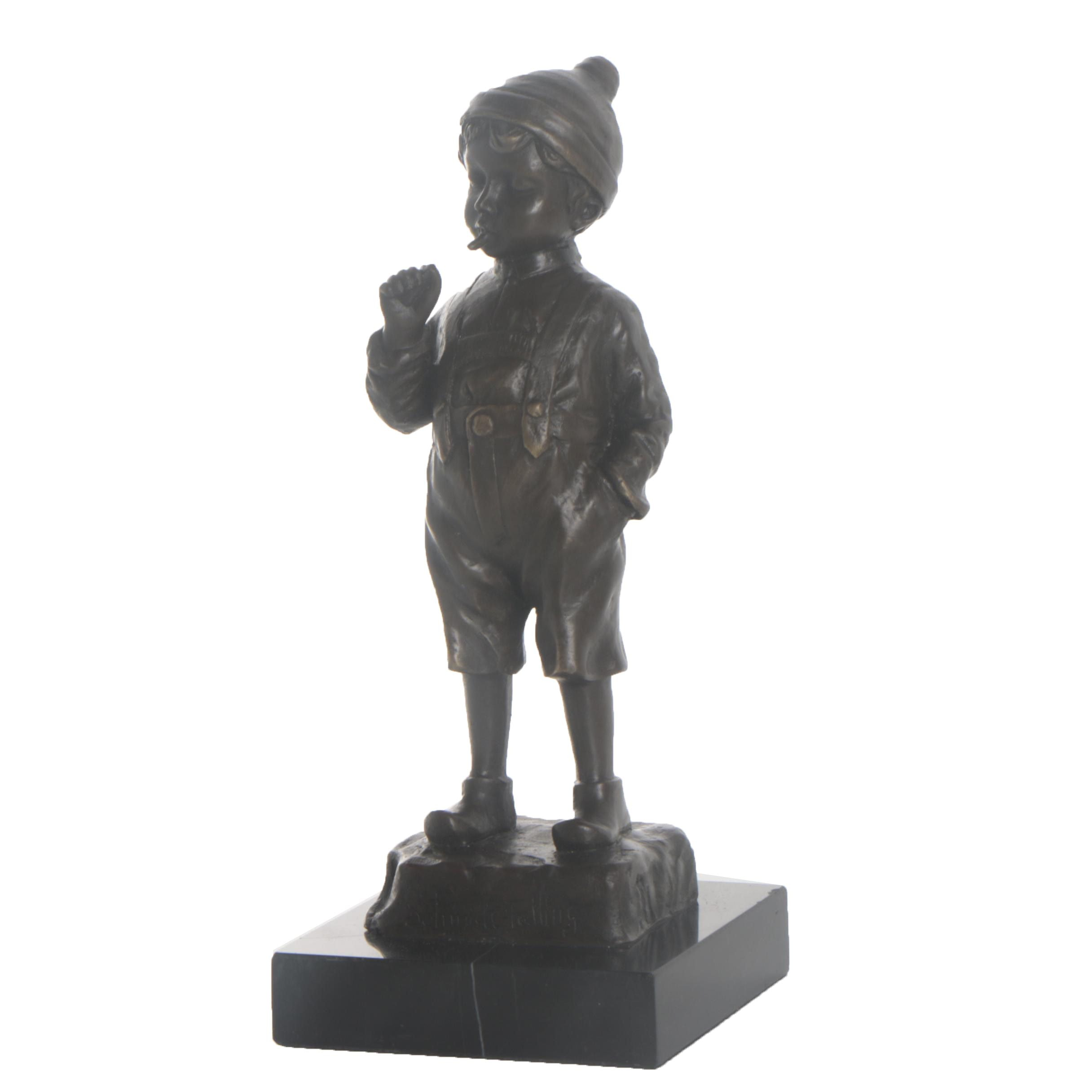 "Cold Cast Bronze Statue after Julius Paul Schmidt-Felling ""Smoking Boy"""