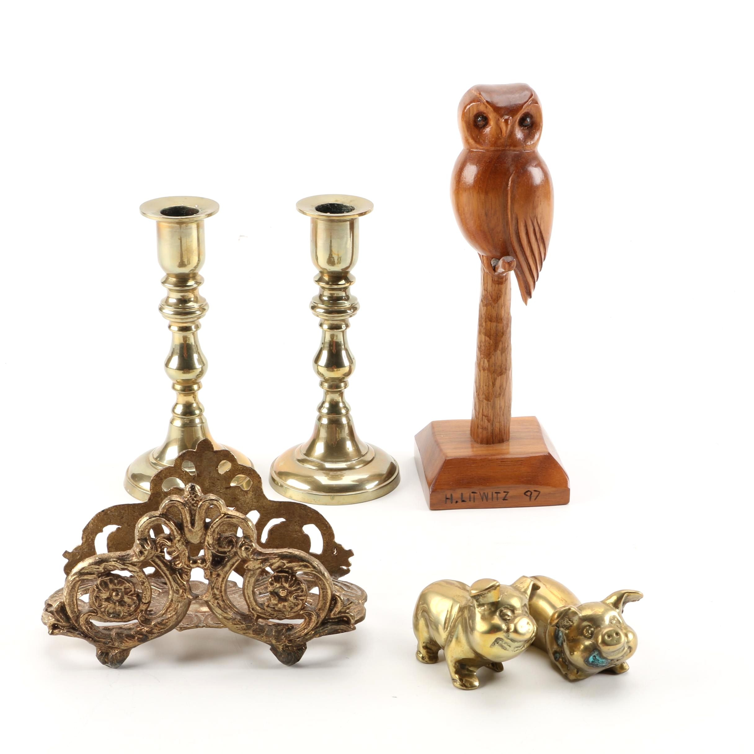 Brass Pig Figurines, Letter Holder, Candleholders, and Carved Wooden Owl