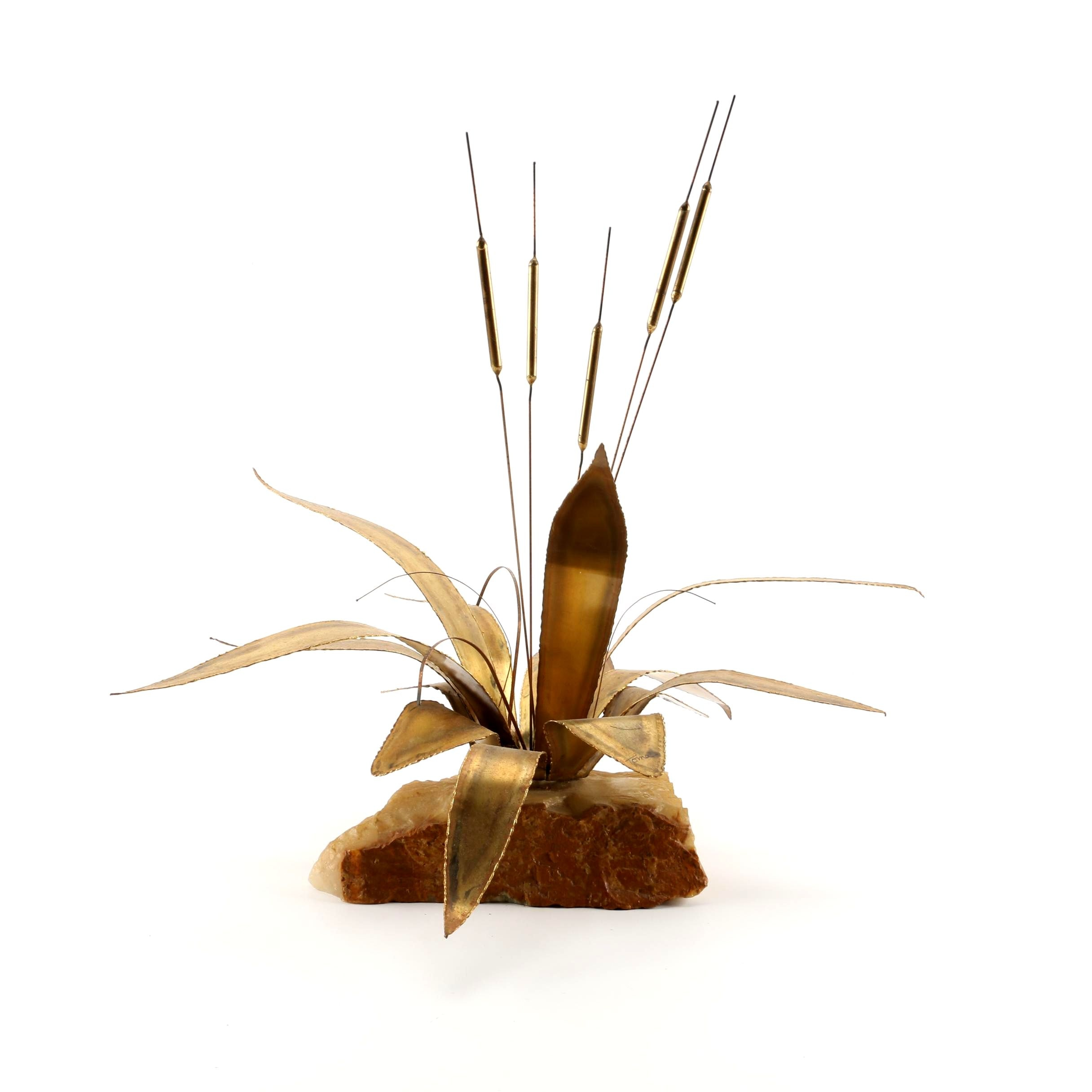 Toma Mid-Century Brass and Calcite Sculpture of Cattails