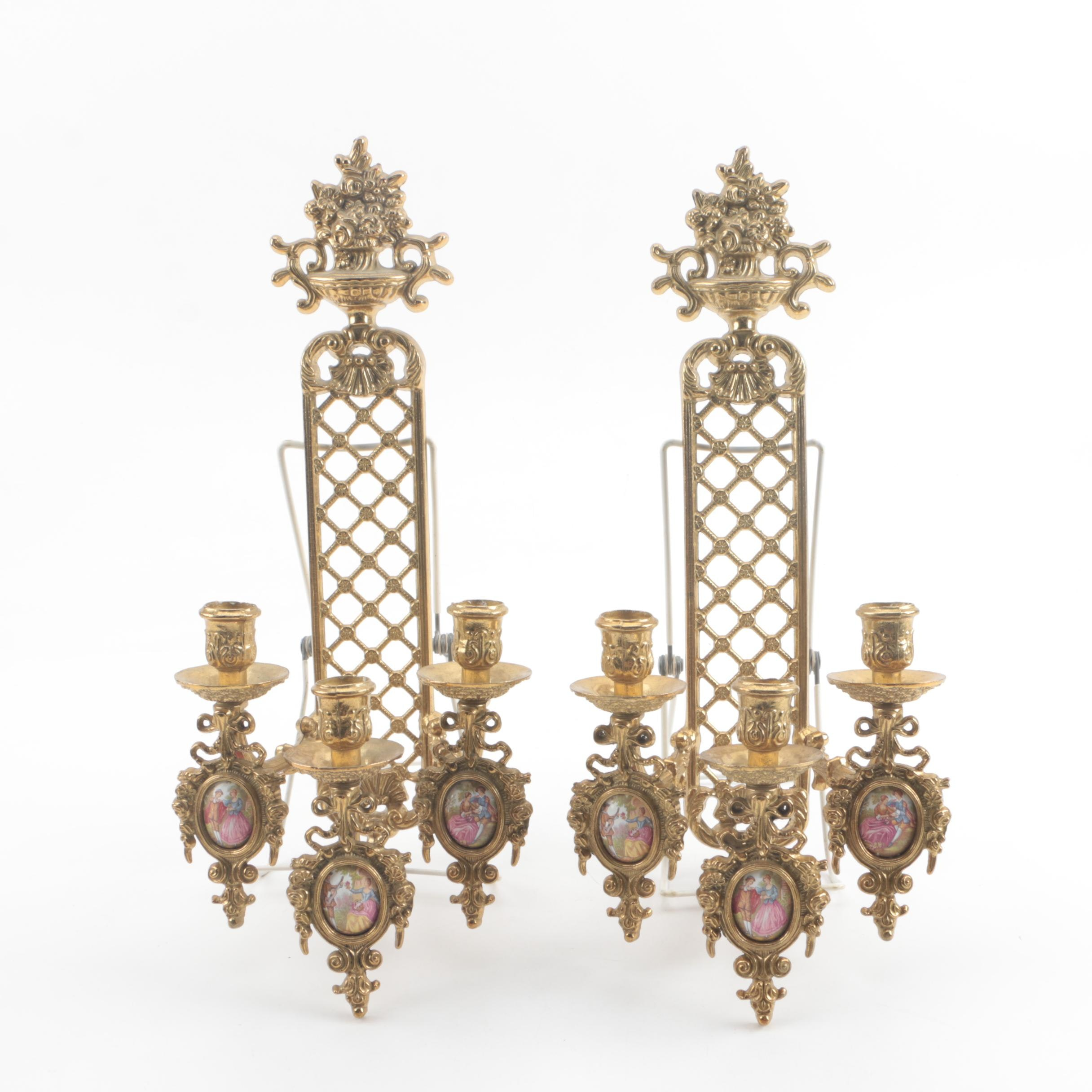 Italian Rococo Style Cast Metal and Fragonard Style Porcelain Candle Sconces