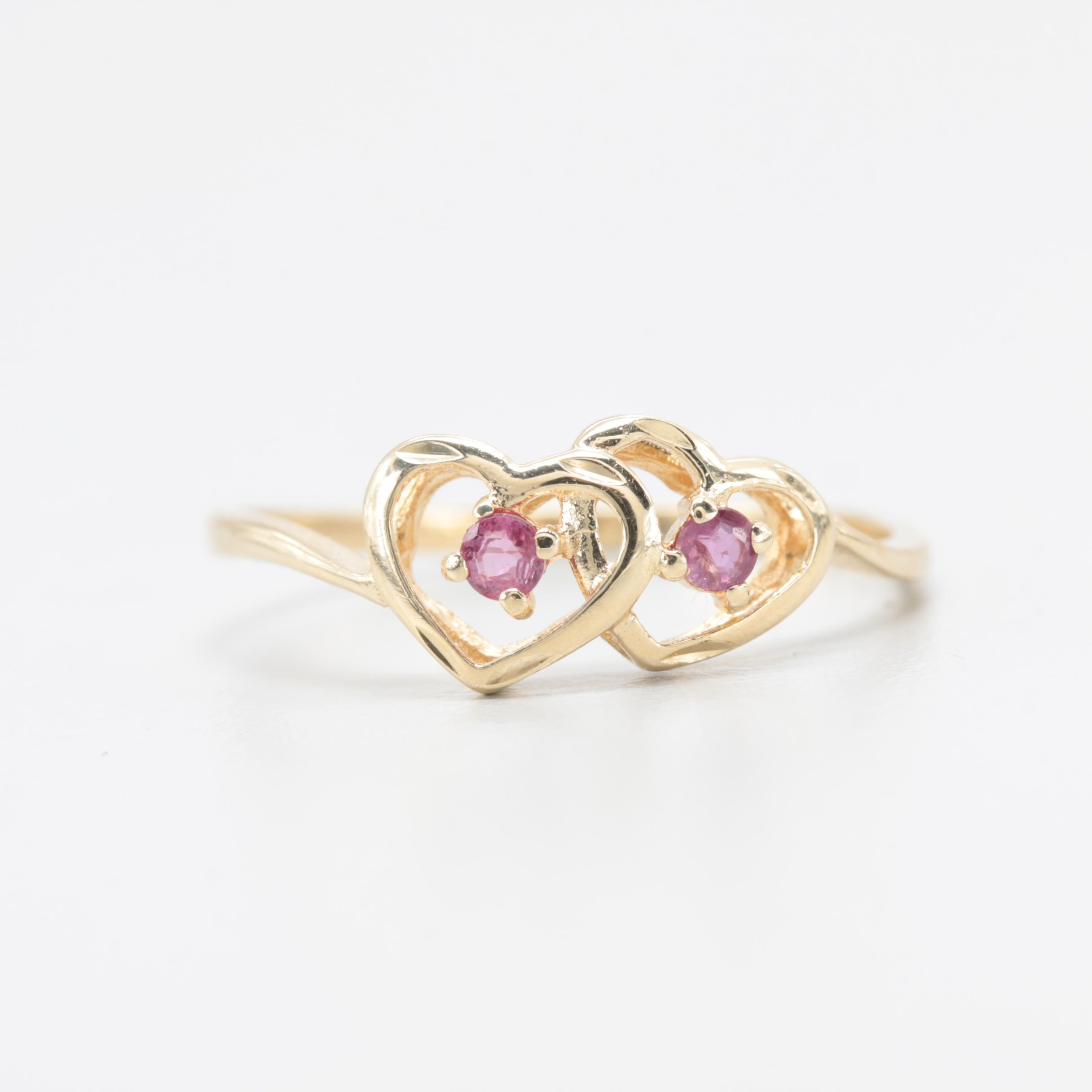 10K Yellow Gold Ruby Heart Ring