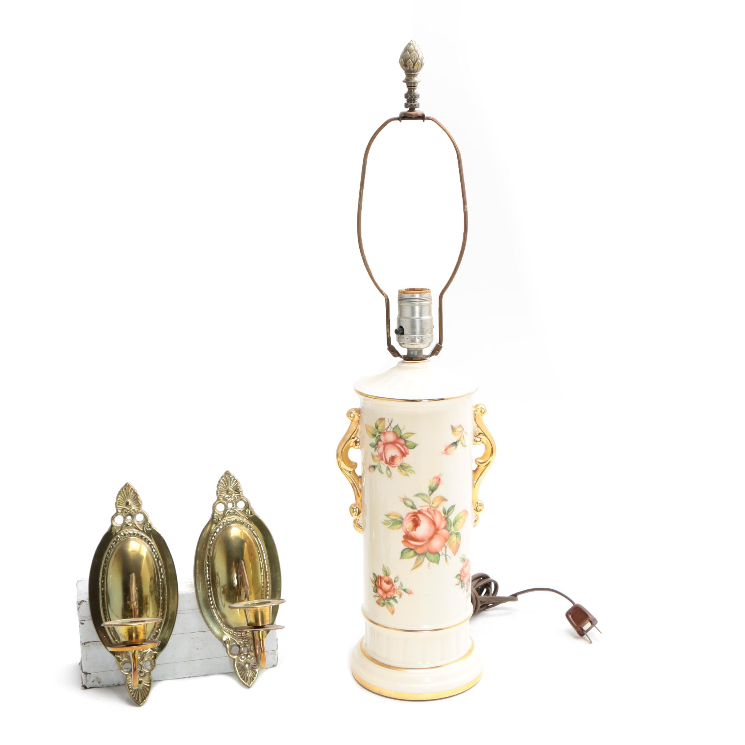 Vintage Ceramic Table Lamp with Brass Candle Sconces