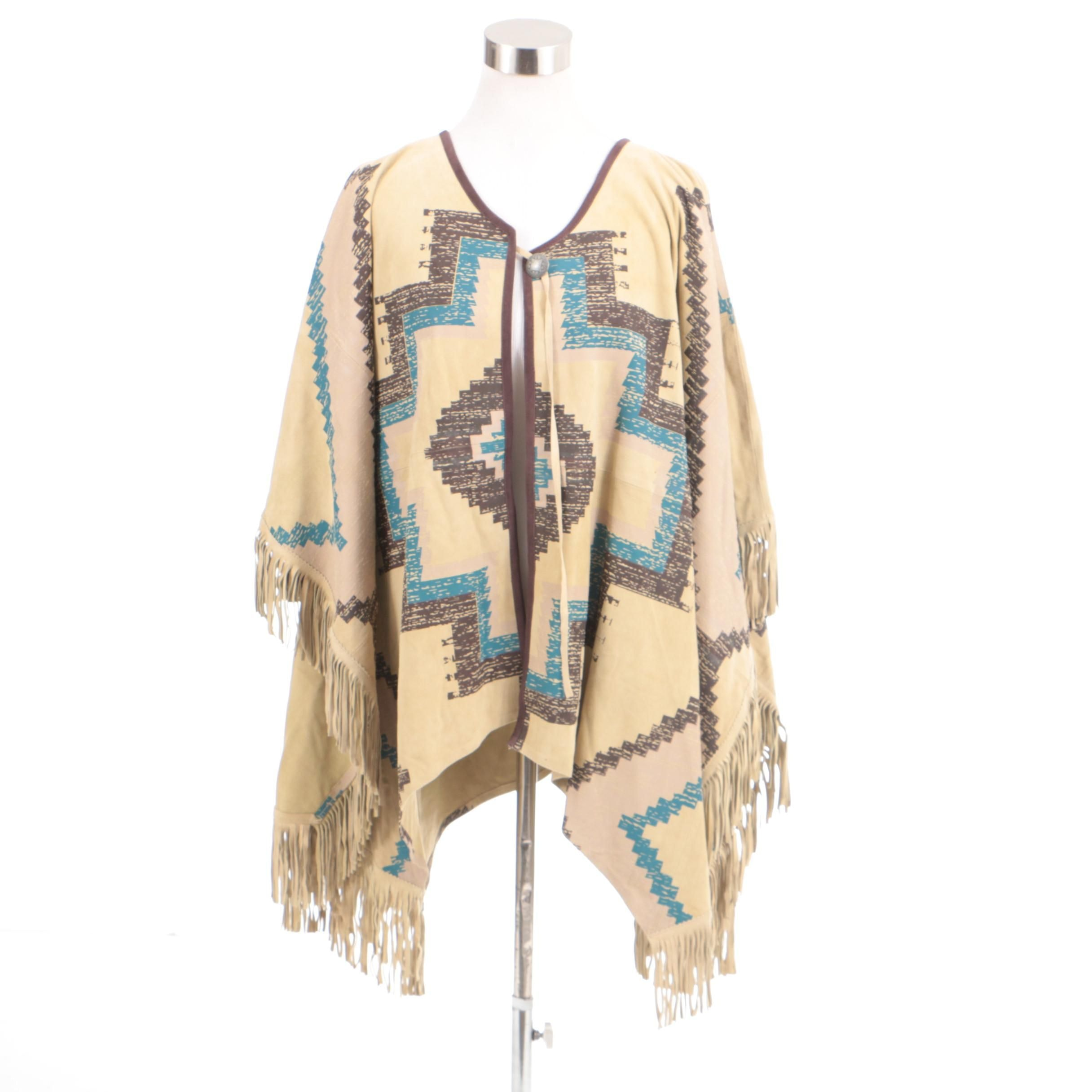 Women's Double D Ranch of Yoakum, Texas Suede Leather Poncho
