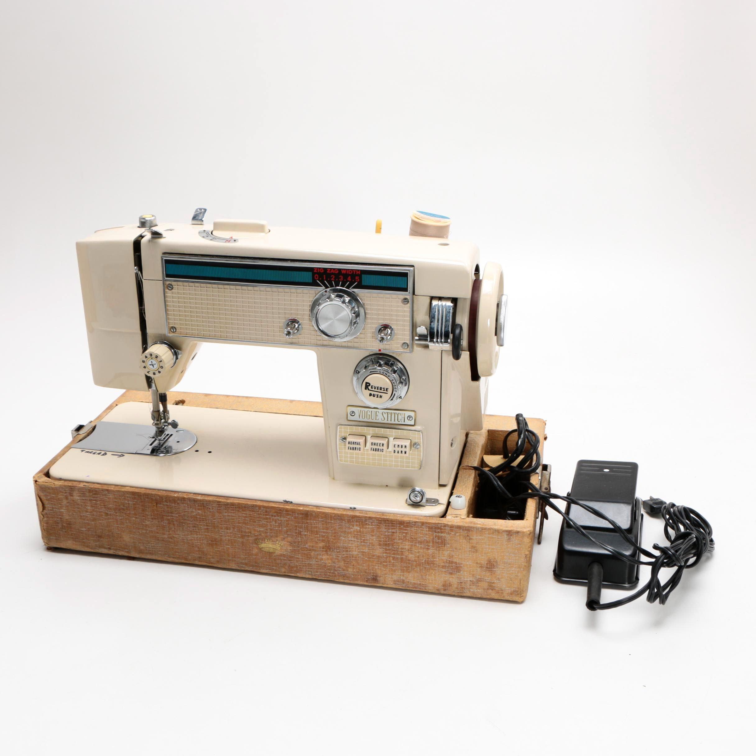 Circa 1960s Japanese Vogue Stitch Zig-Zag Portable Sewing Machine