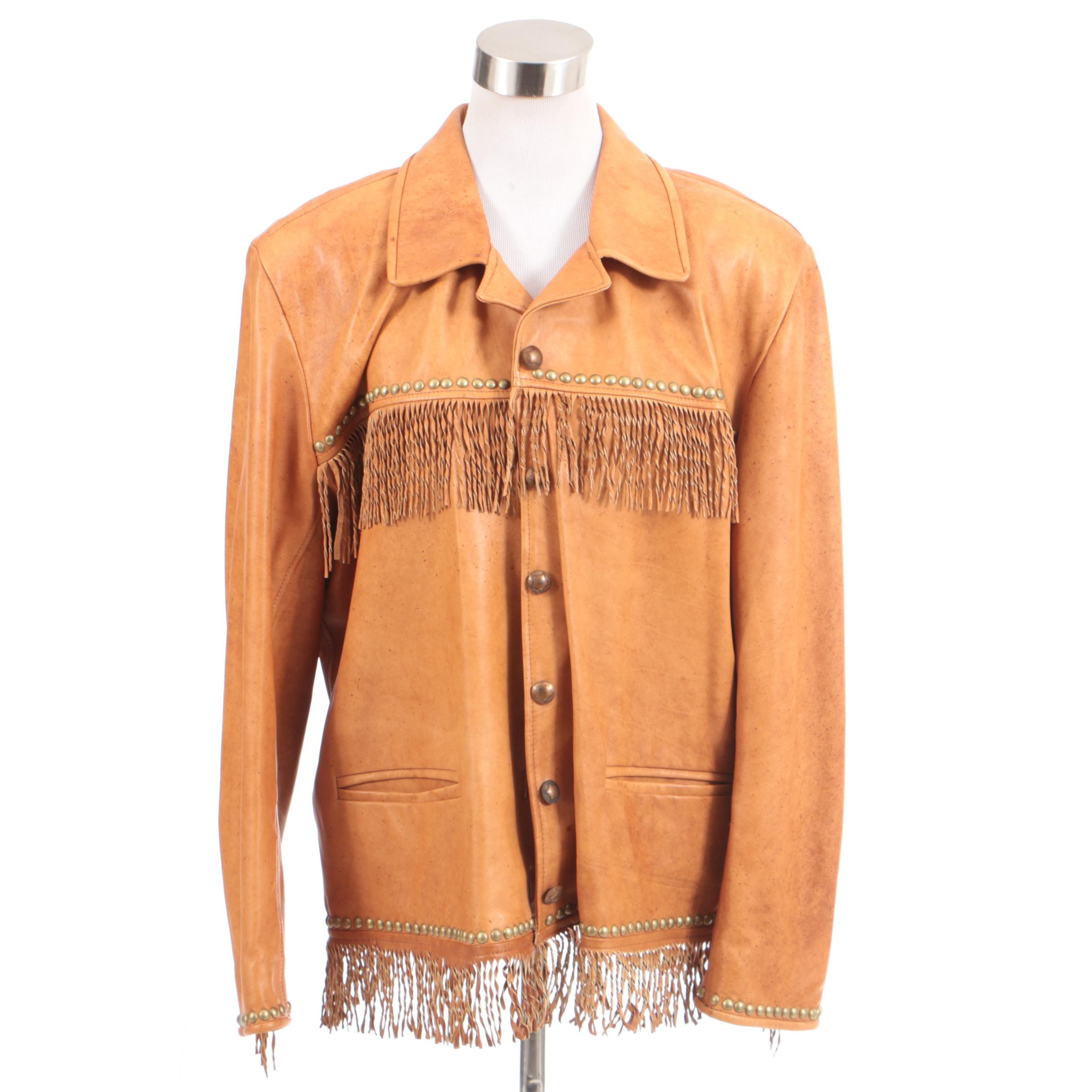 Women's Double D Ranch of Yoakum, Texas Tan Leather Jacket with Fringe