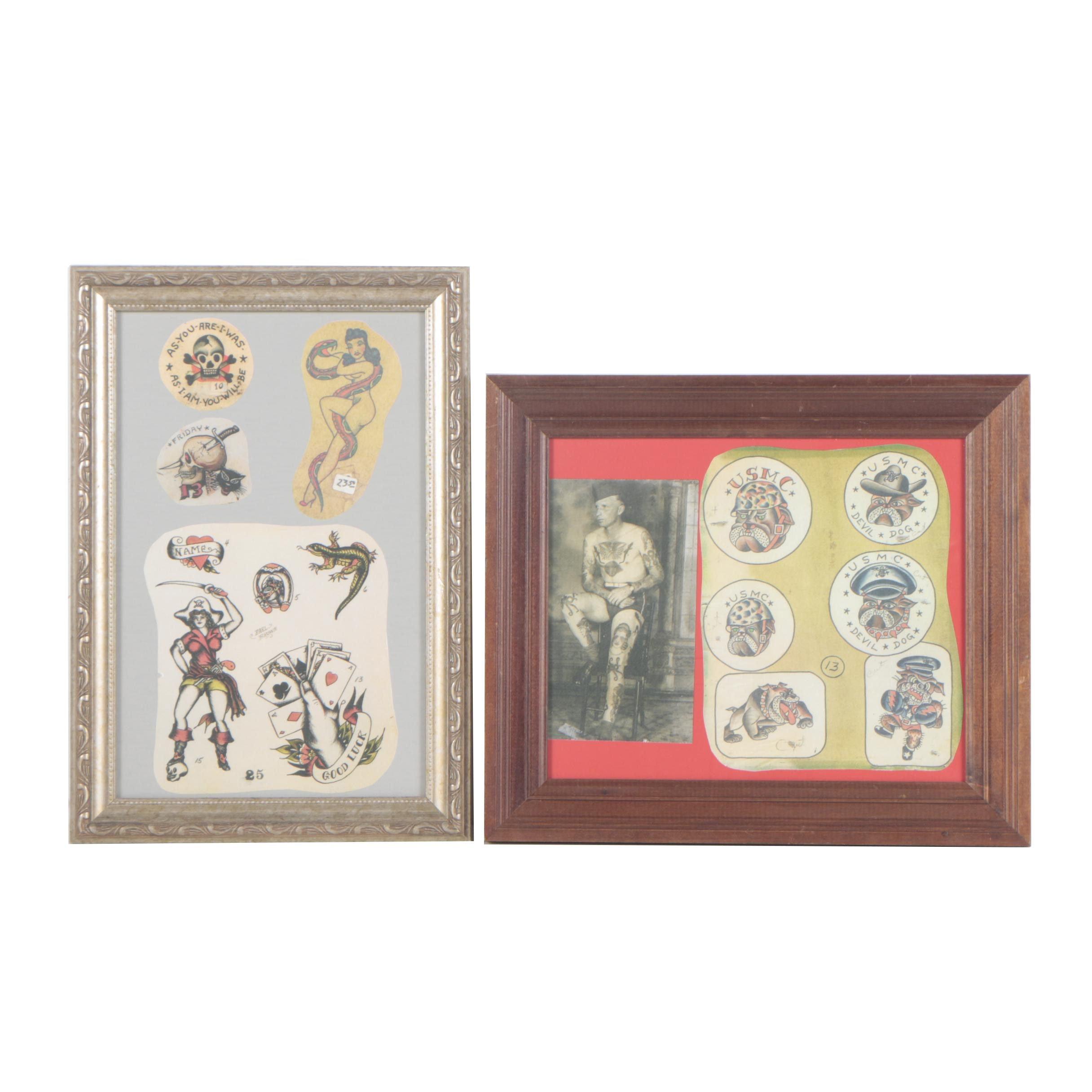 World War II Era Reproduction Tattoo Patterns and Photograph
