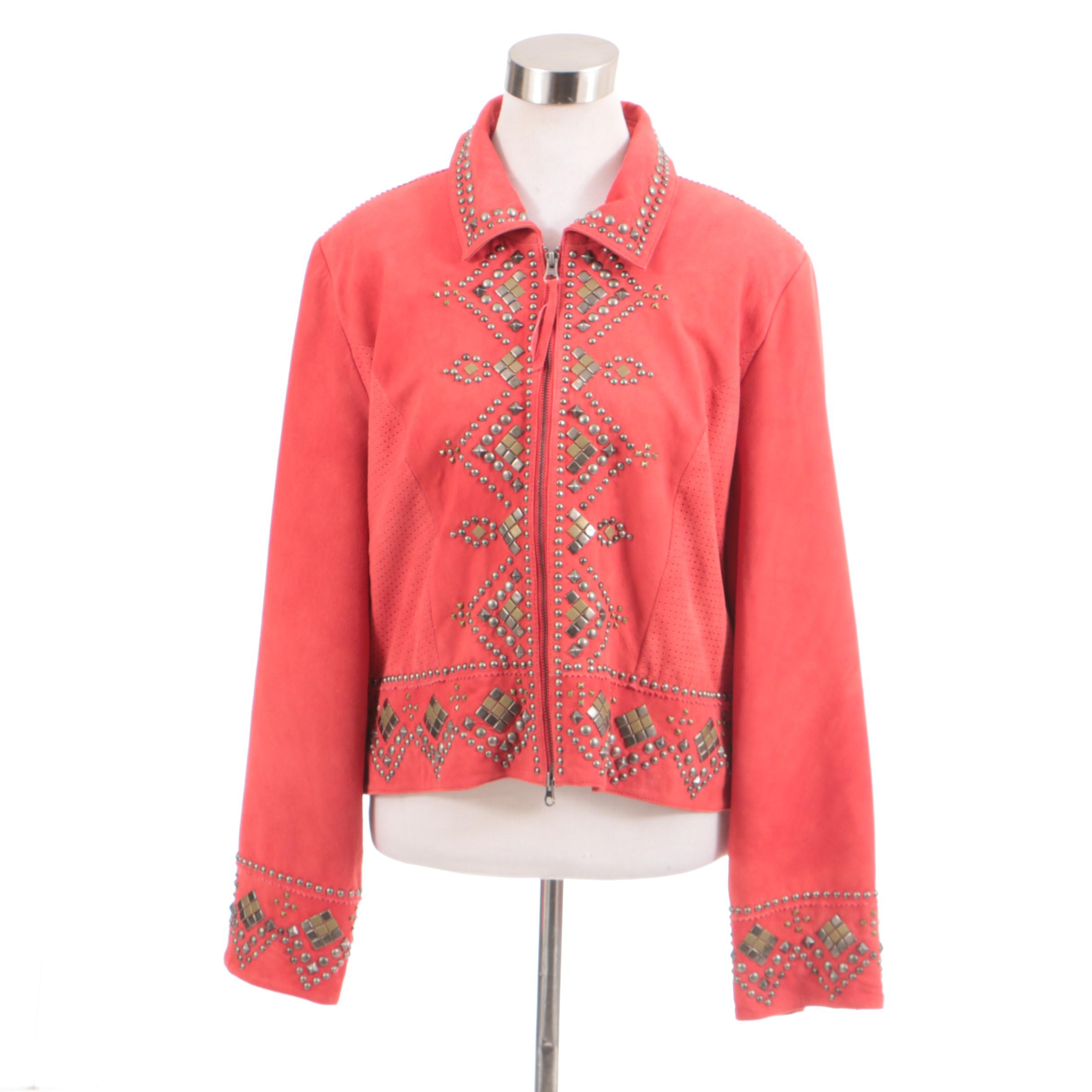 Double D Ranch of Yoakum, Texas Coral Suede Leather Jacket