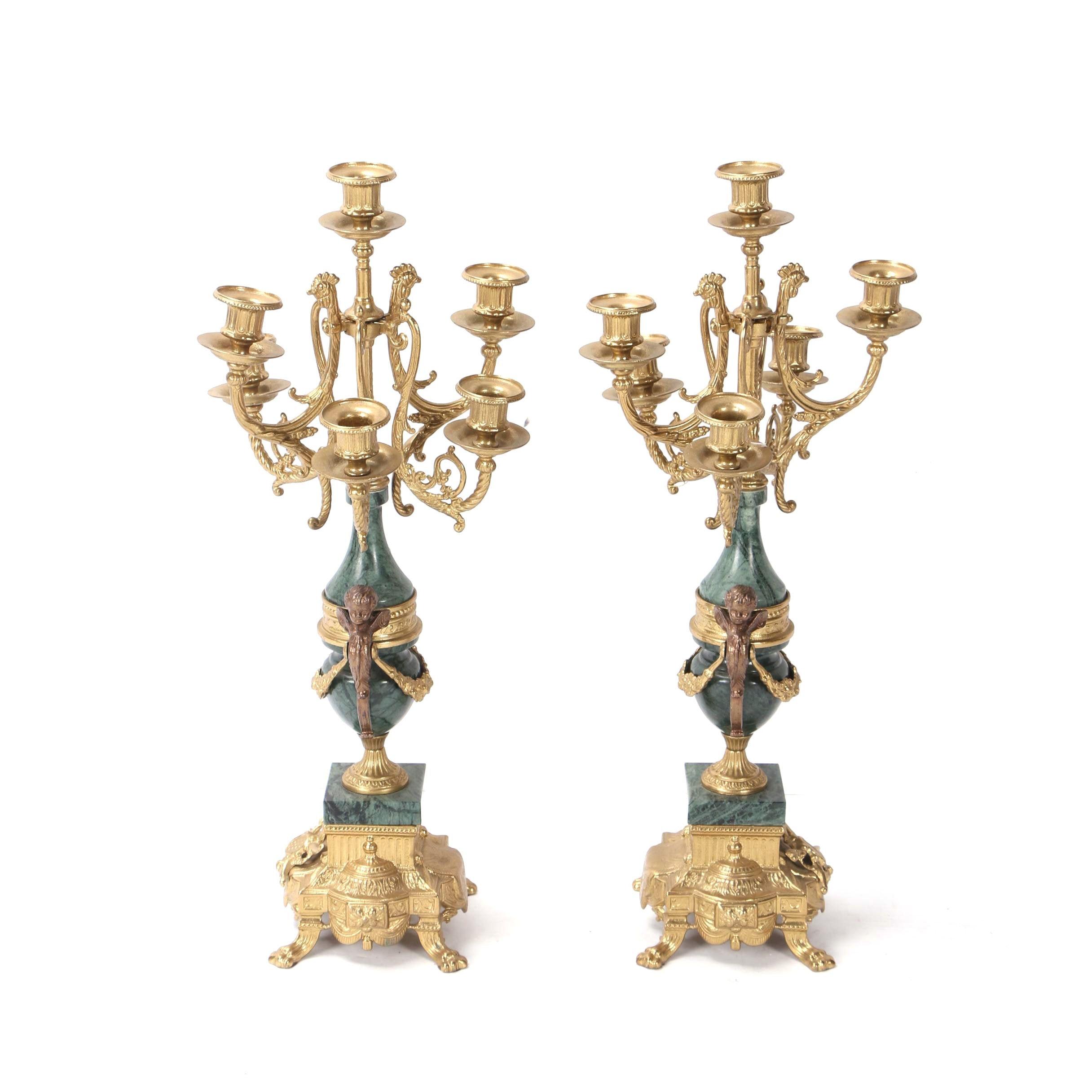 Vintage Italian Brevettato Brass and Green Marble Candelabrums