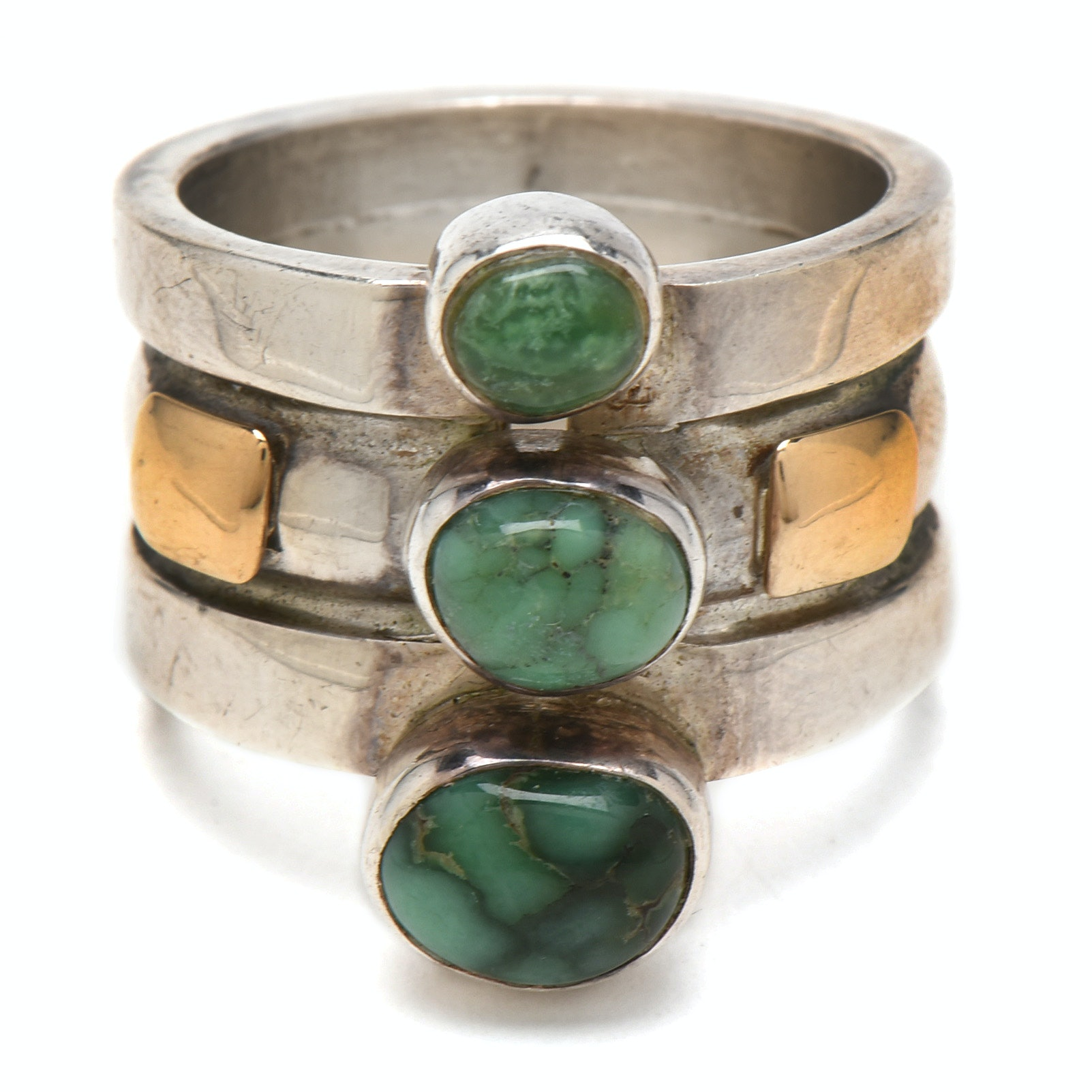 Lilly Barrack Sterling Silver with 14K Yellow Gold Turquoise Ring