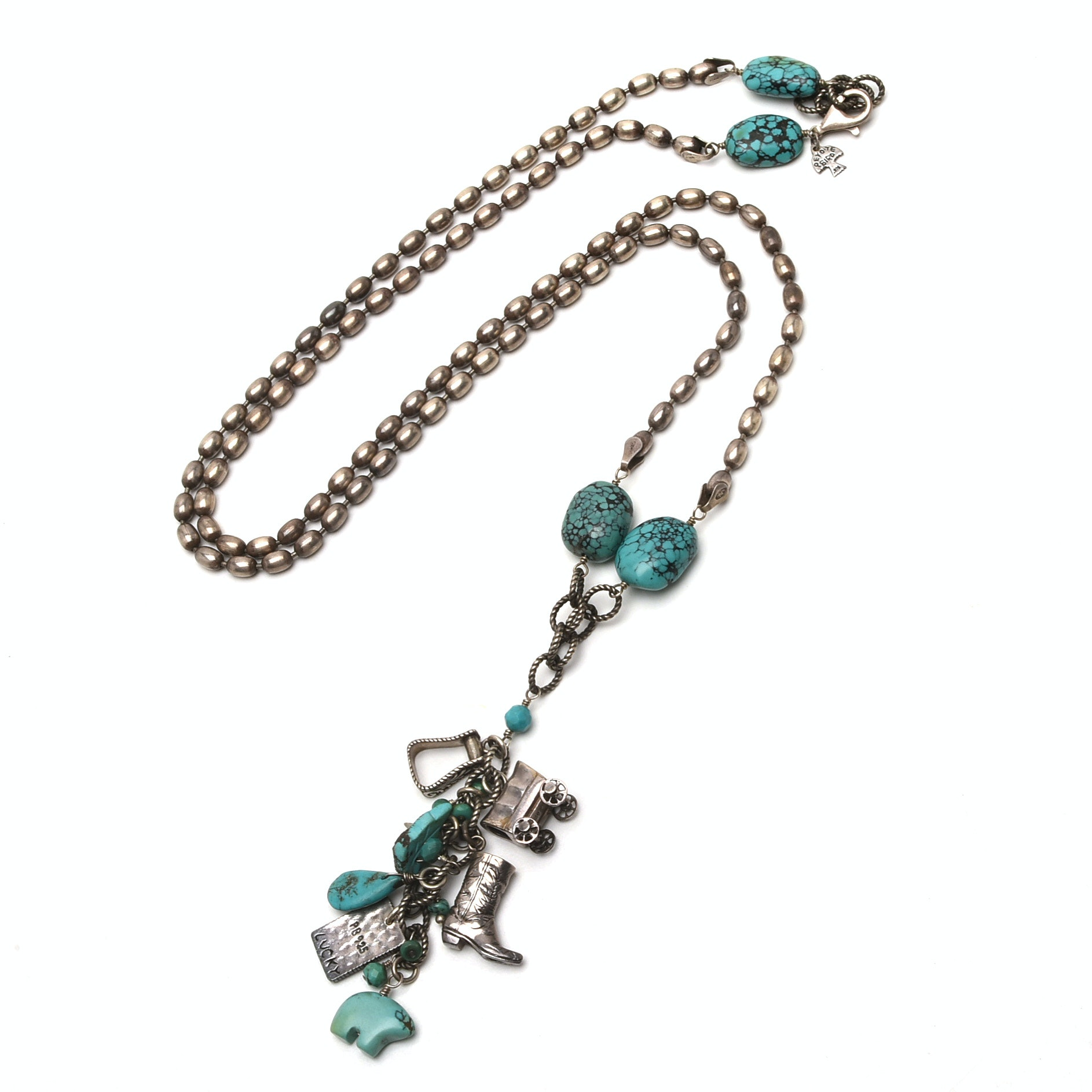 Peyote Bird Designs Sterling Silver Turquoise Southwest Themed Necklace