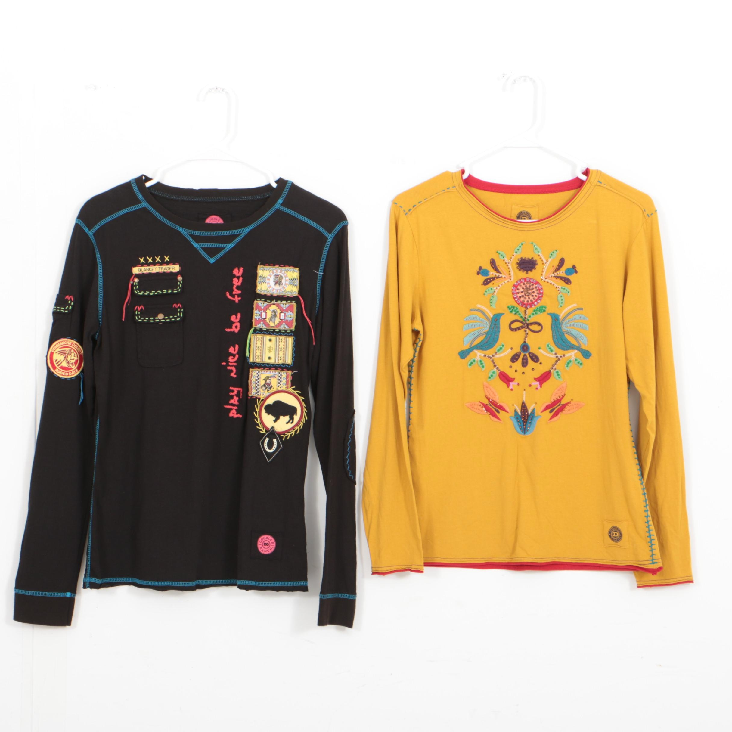 Pair of Double D Ranch Long Sleeve Embroidered Shirts