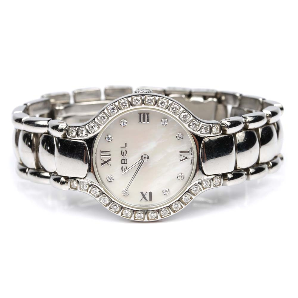 Ebel Stainless Steel Mother of Pearl and Diamond Wristwatch