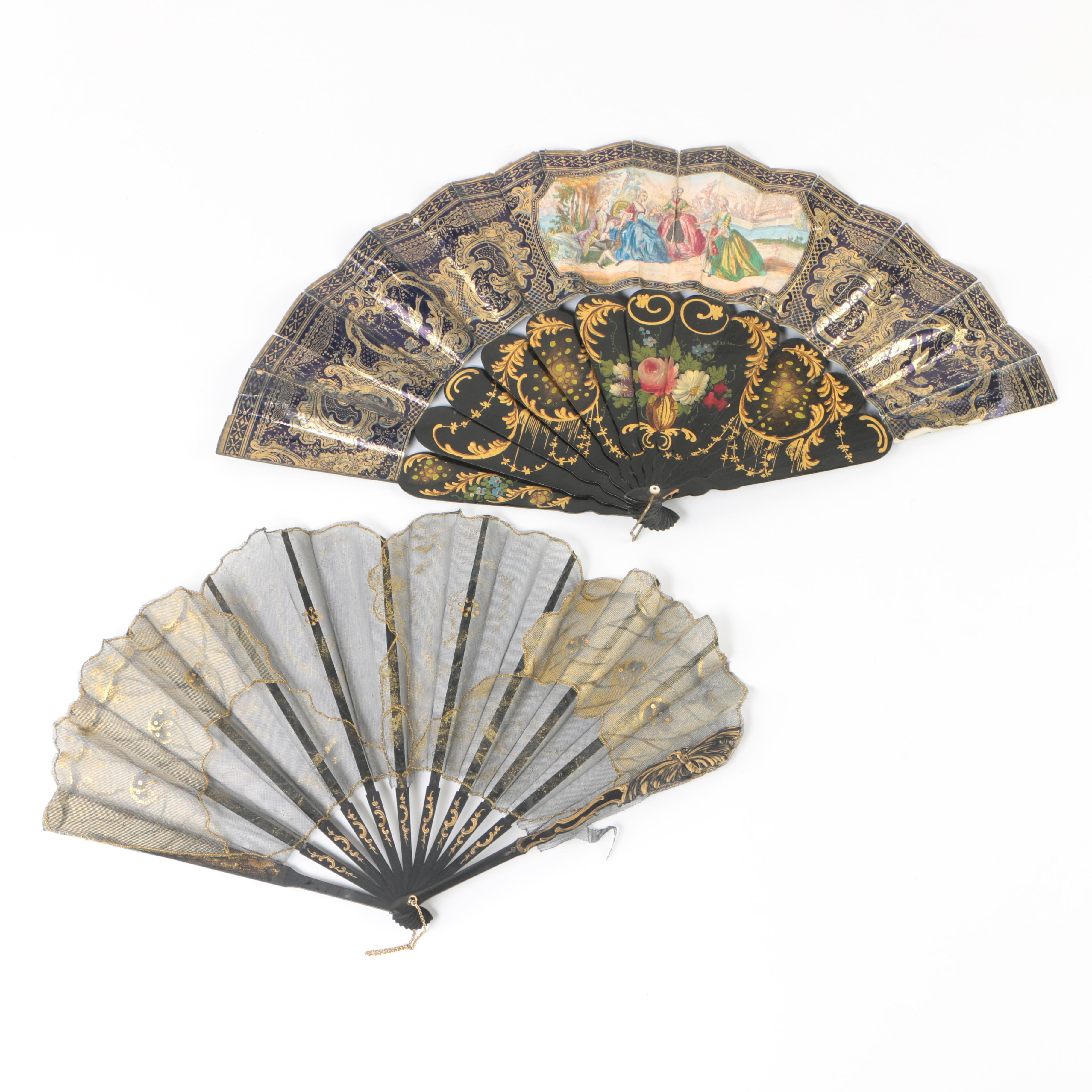 Antique Hand-Painted Wood and Cloth Folding Fans