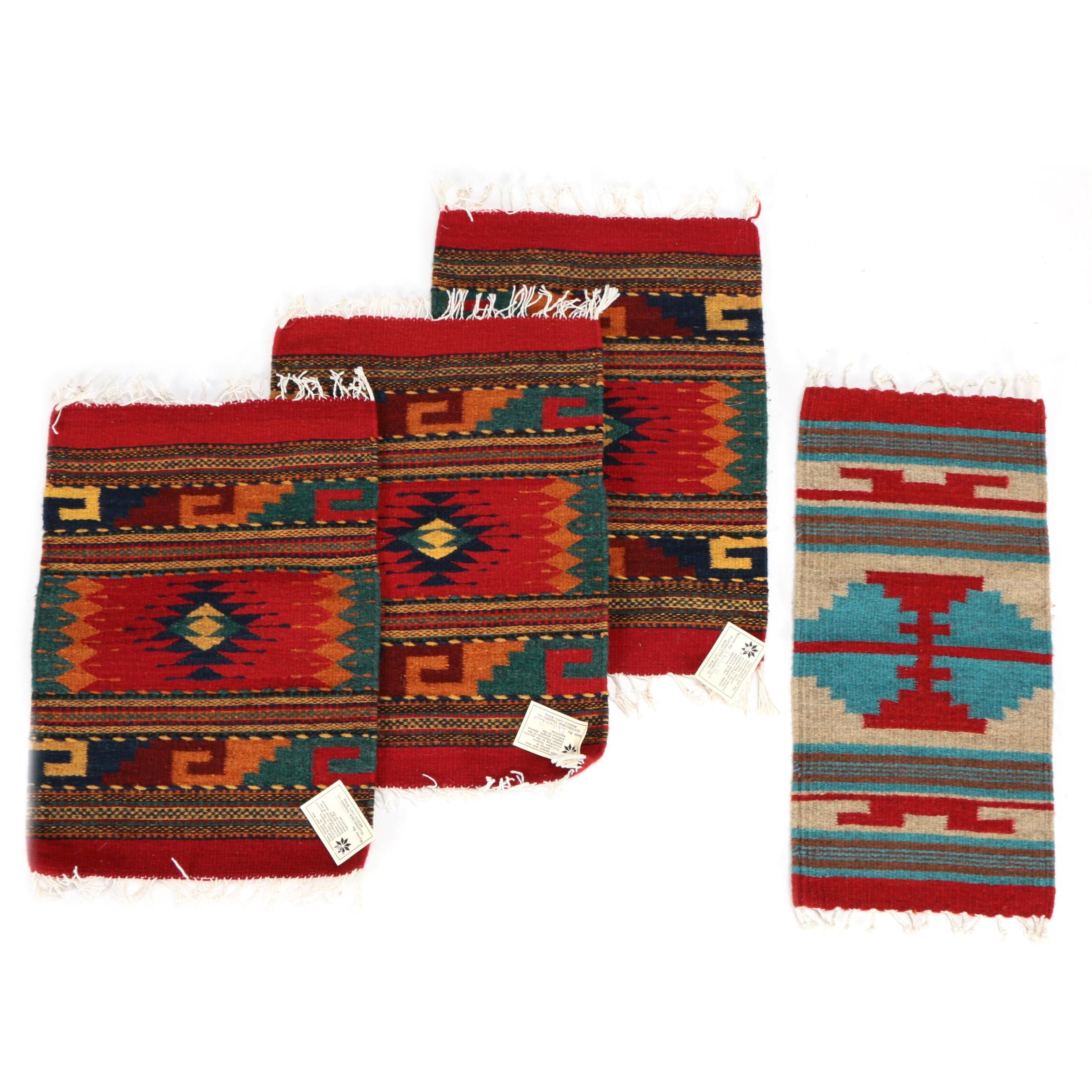 Four Mexican Hand Woven Wool on Cotton Mats