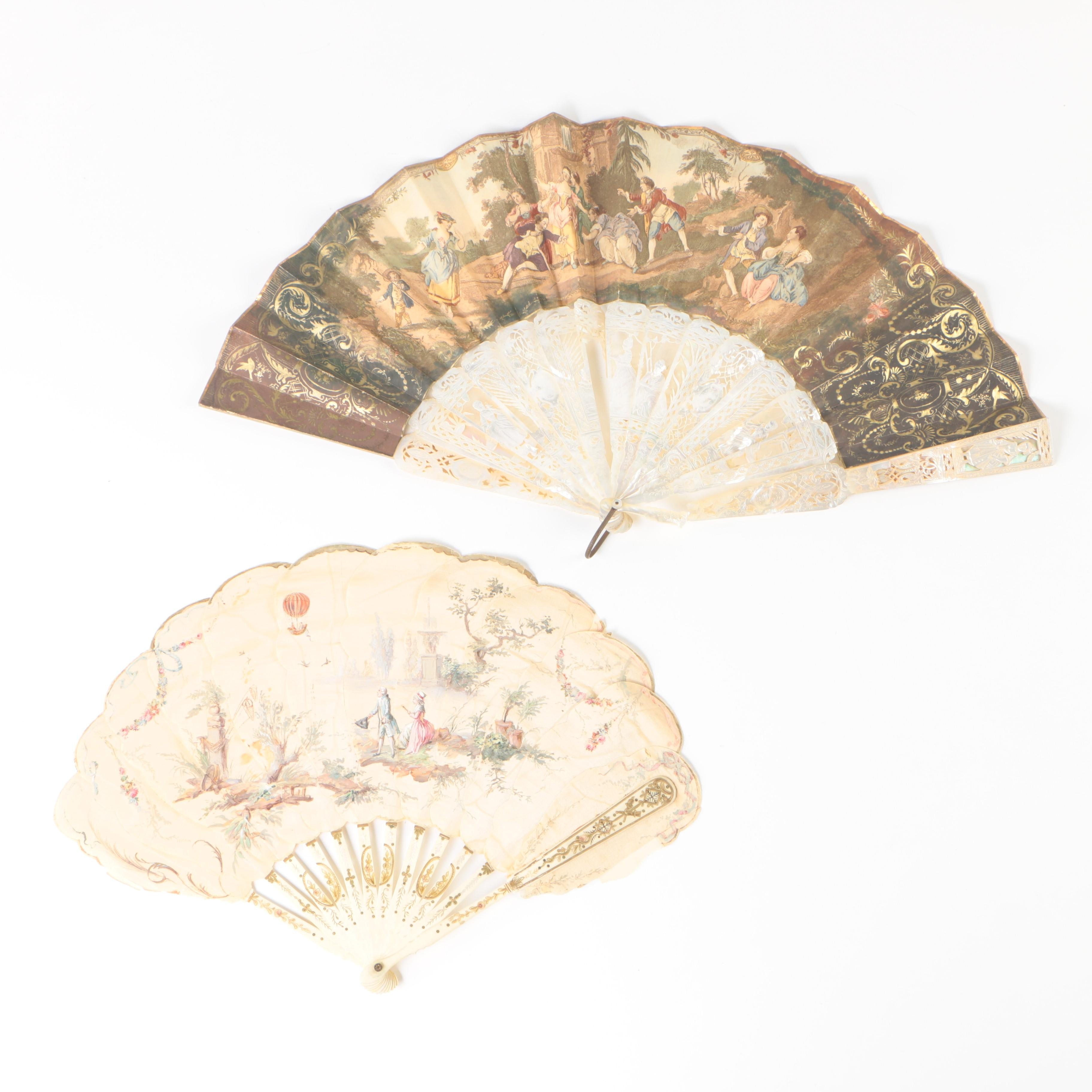Antique Bone and Mother of Pearl Fans w/ Hand-Painted Paper and Grosgrain Leaves