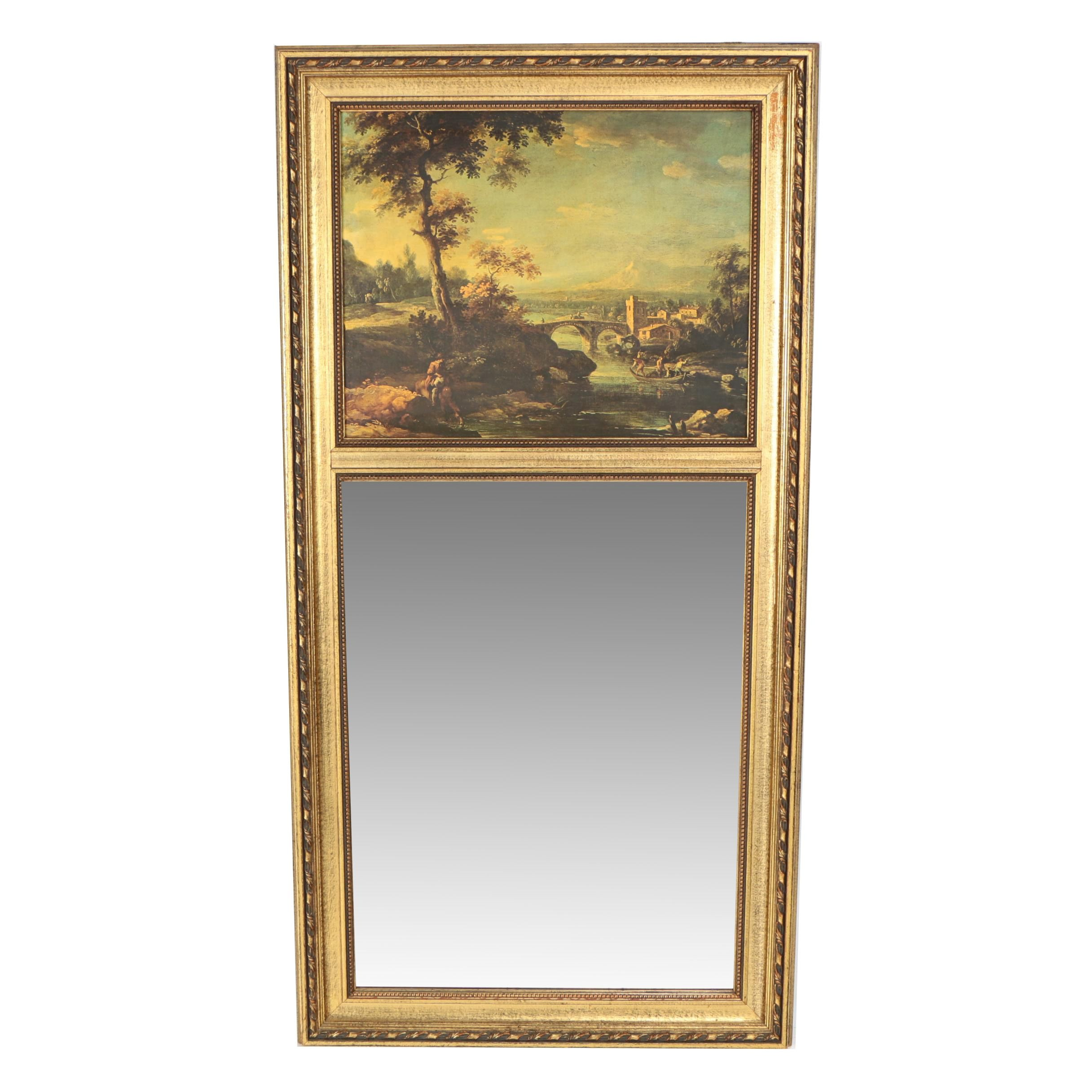 Trumeau Wall Mirror with Offset Lithograph after Claude Lorraine