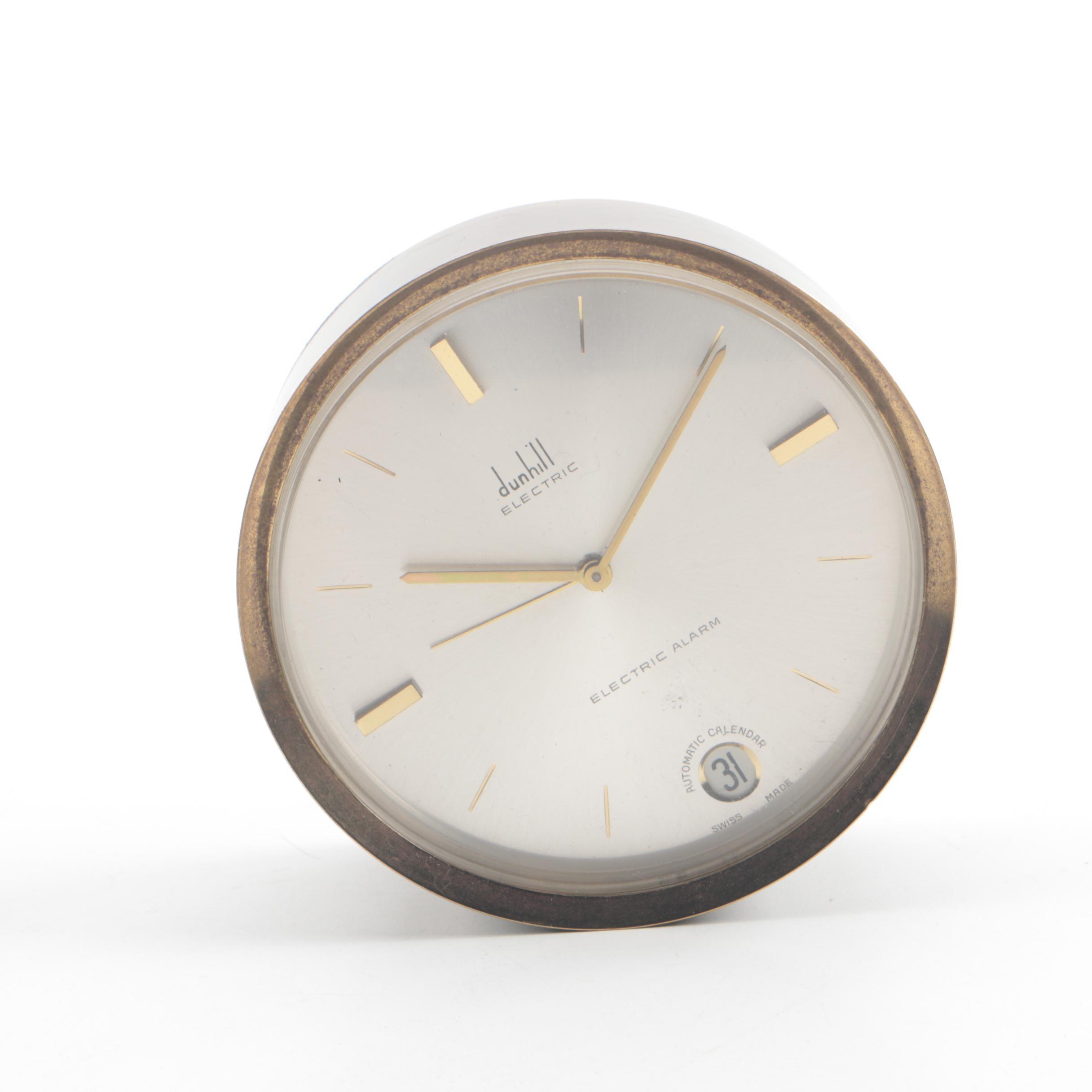 Circa 1950s Alfred Dunhill Brass Travel Alarm Clock